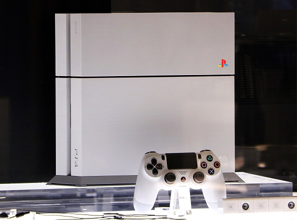 The PlayStation 4 20th anniversary edition is displayed at Sony's showroom in Tokyo on Dec. 4, 2014