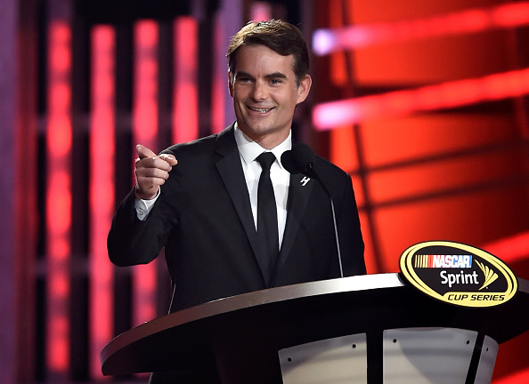 Jeff Gordon speaks during the 2014 NASCAR Sprint Cup Series Awards at Wynn Las Vegas on Dec. 5, 2014