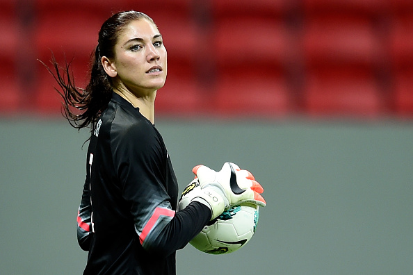 Goalkeeper Hope Solo of the USA in action during a match between USA and China at Mane Garrincha Stadium in Brasilia on Dec. 10, 2014
