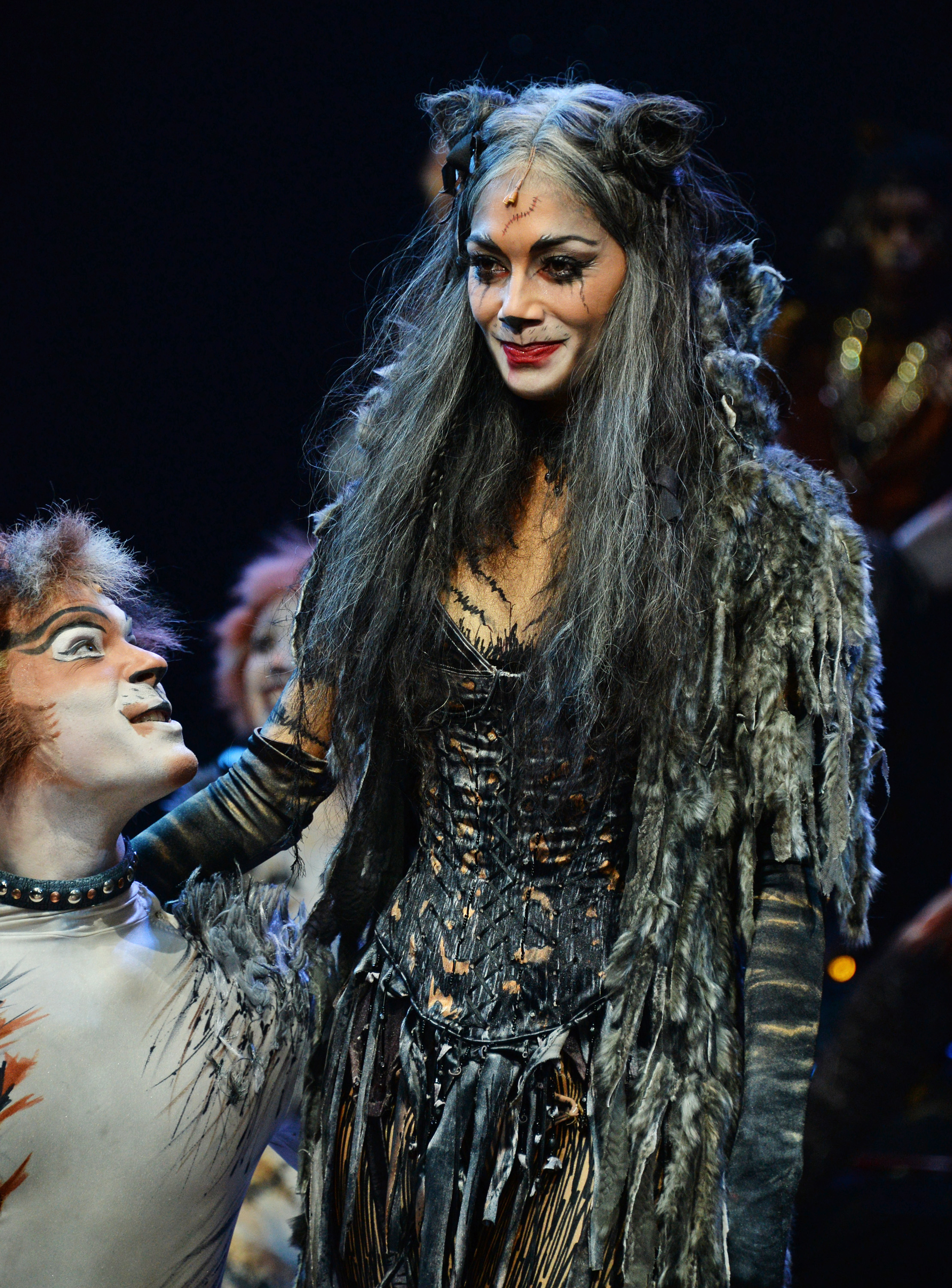 Nicole Scherzinger bows at the curtain call during the press night performance of  Cats  at the London Palladium on Dec. 11, 2014 in London.