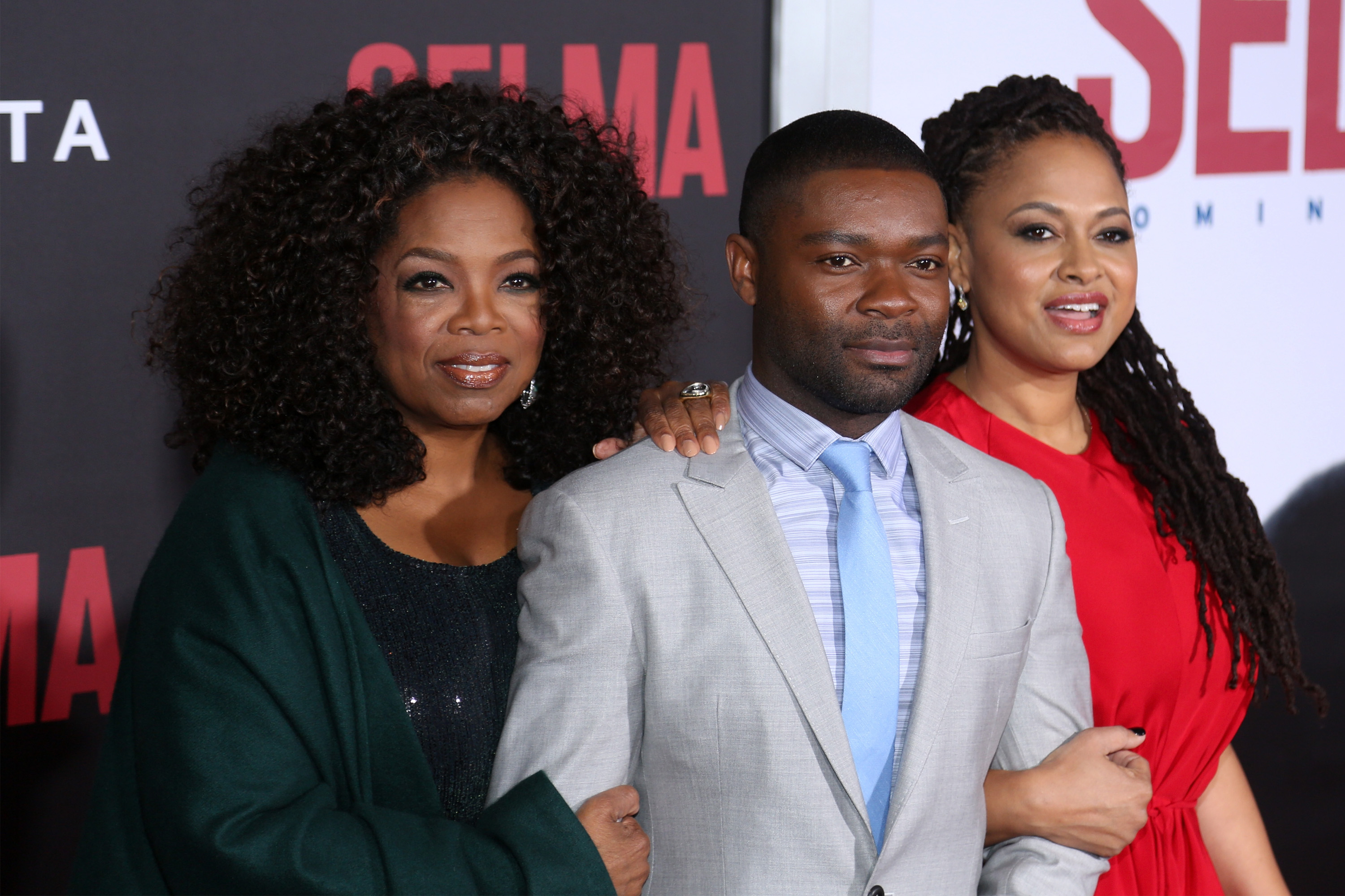 From left: Oprah, David Oyelowo, and Ava DuVernay, attend the  Selma  New York Premiere at Ziegfeld Theater on Dec. 14, 2014 in New York City.