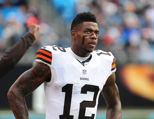 Josh Gordon of the Cleveland Browns watches the action against the Carolina Panthers at Bank of America Stadium in Charlotte, N.C., on Dec. 21, 2014