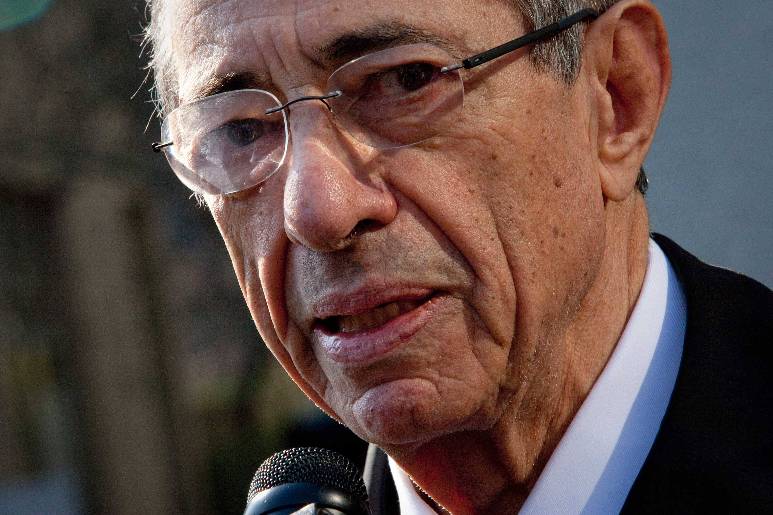Mario Cuomo, former governor of New York, speaks to media outside of federal court in New York City on March 19, 2012.