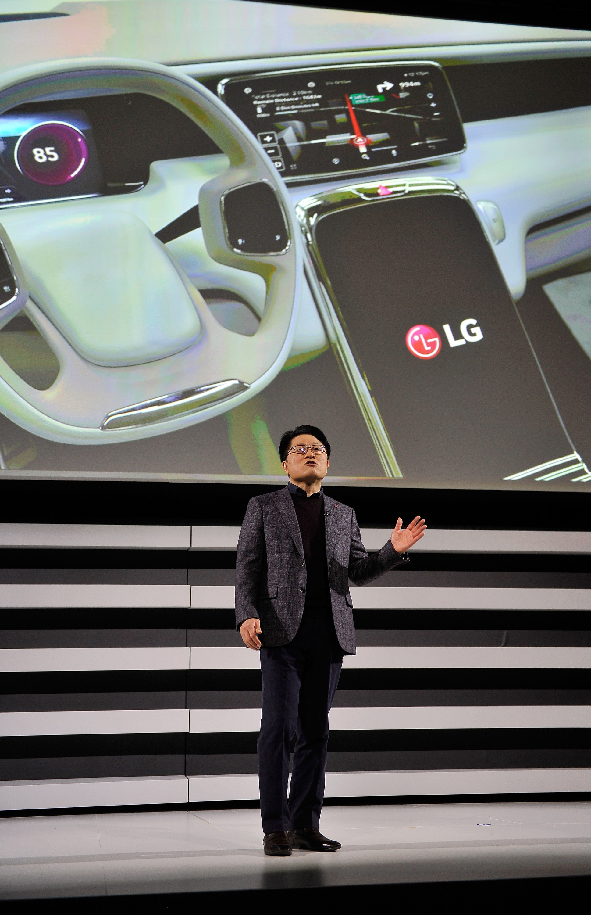 LG Electronics President and Chief Technology Officer Skott Ahn speaks at the 2015 International Consumer Electronics Show in Las Vegas on Jan. 5, 2015.