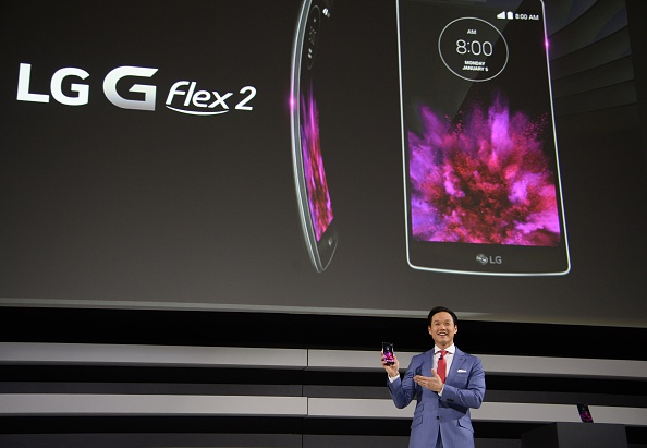 Frank Lee, head of brand marketing for LG Electronic MobileComm USA, introduces the new LG G Flex 2 smartphone at the 2015 Consumer Electronics Show in Las Vegas on Jan. 5, 2015