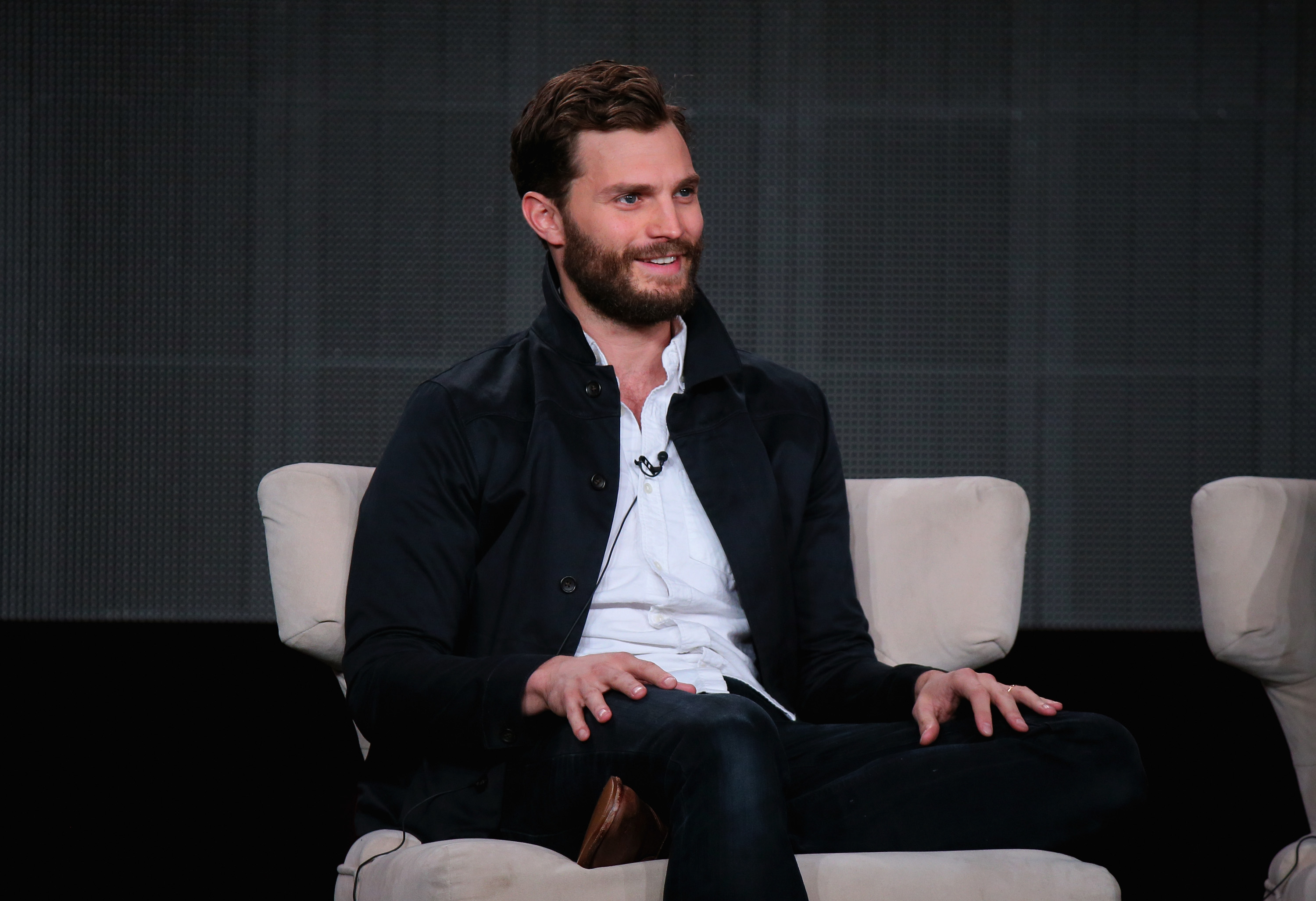 Jamie Dornan speaks onstage about The Fall during the Netflix TCA Press Tour