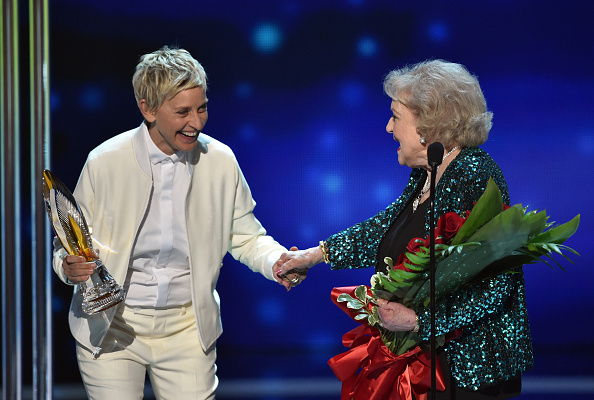 TV personality Ellen DeGeneres and actress Betty White speak on stage at the People's Choice Awards at Nokia Theatre in Los Angeles on Jan. 7, 2015