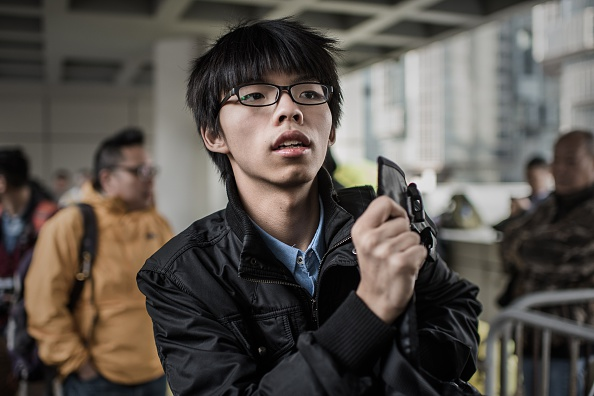 Hong Kong student activist Joshua Wong is pictured outside the High Court in Hong Kong on Jan. 8, 2015