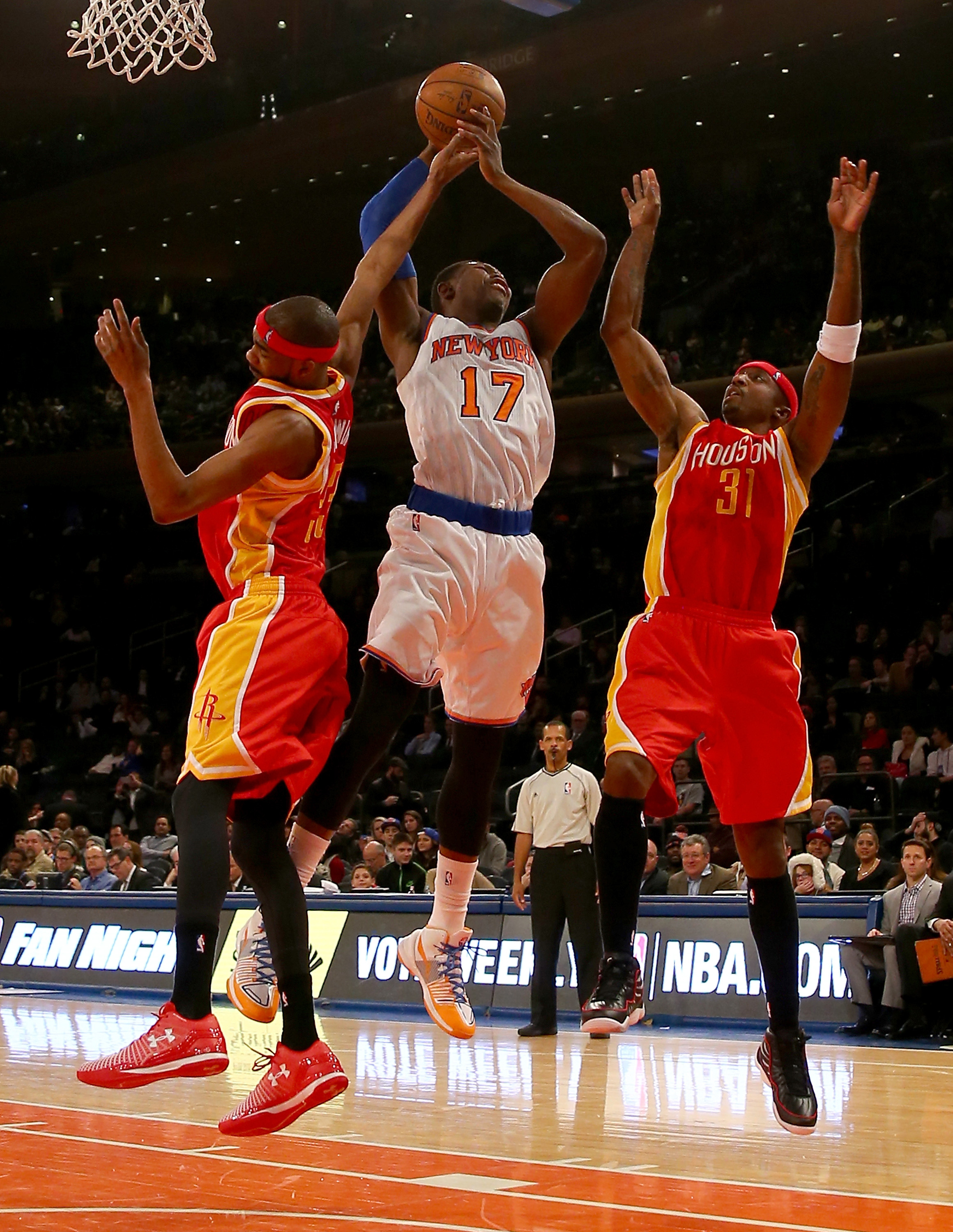 The Houston Rockets defeated the New York Knicks 120-96 at Madison Square Garden on January 8, 2015 in New York City.