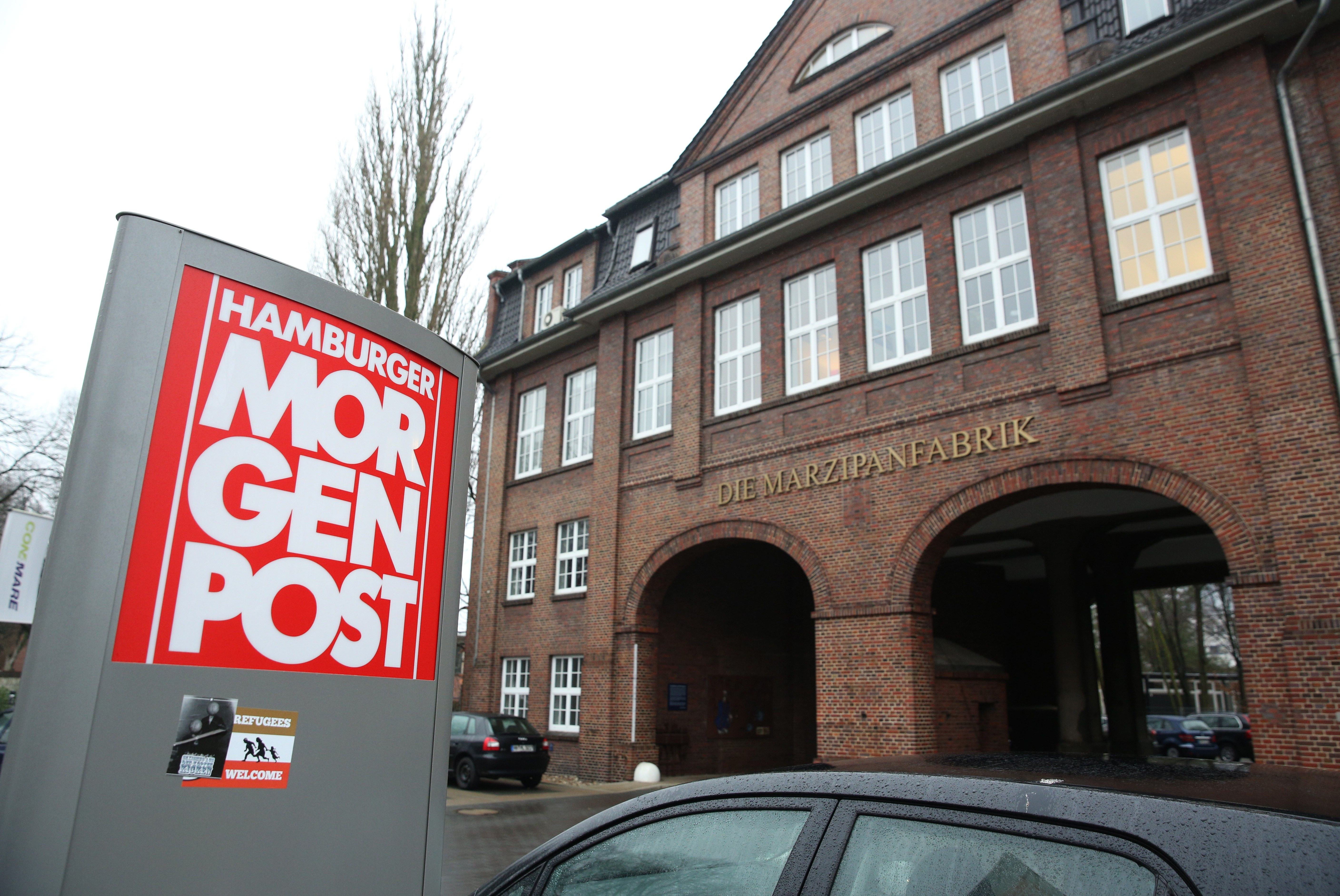 A view taken on Jan. 8, 2015, shows the entrance of German regional newspaper Hamburger Morgenpost editorial office in Hamburg