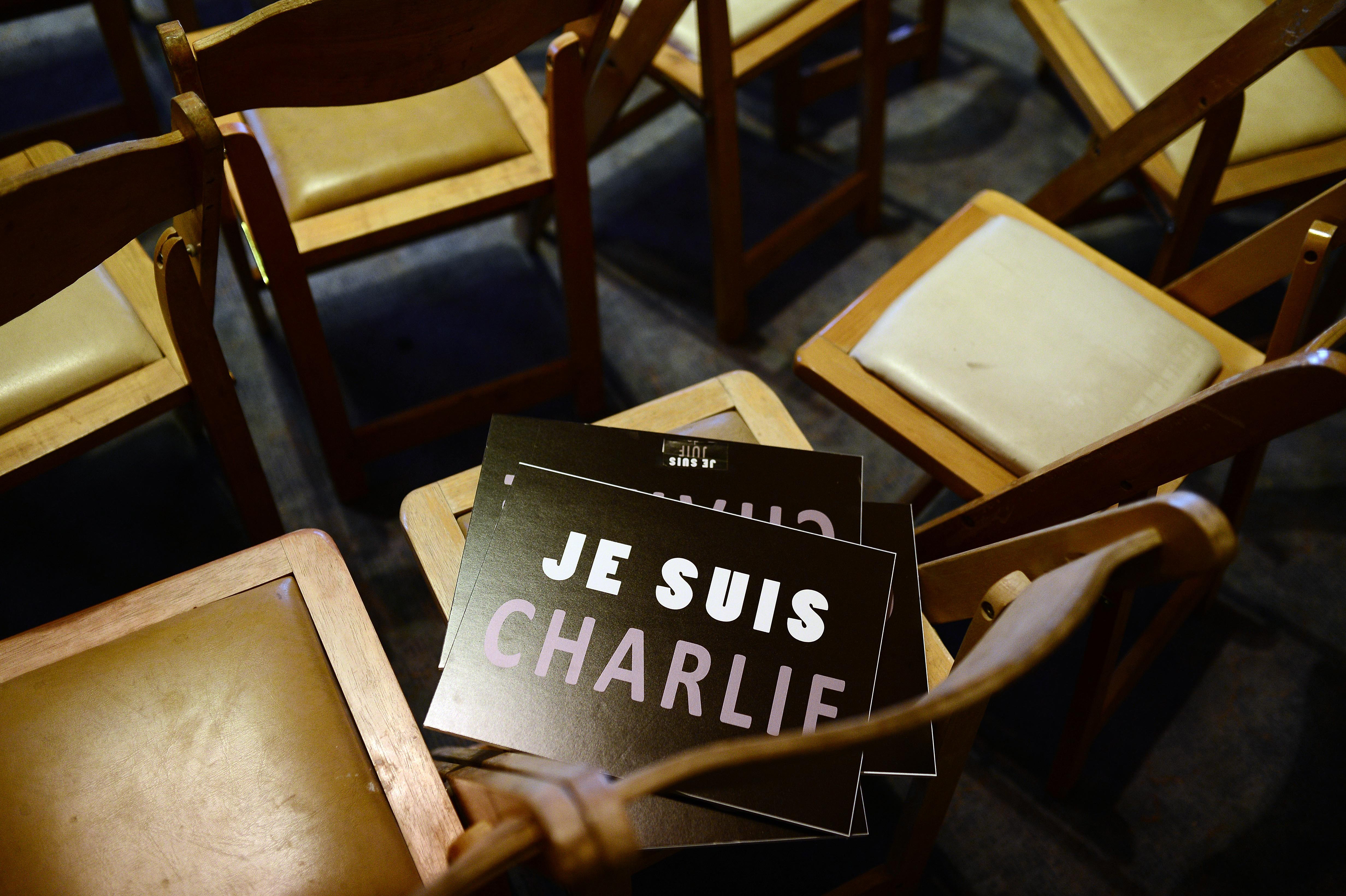 Jerusalem Municipality hold an organization to protest against gun attack to Charlie Hebdo in Paris, on January 11, 2014, in Jerusalem, Israel.