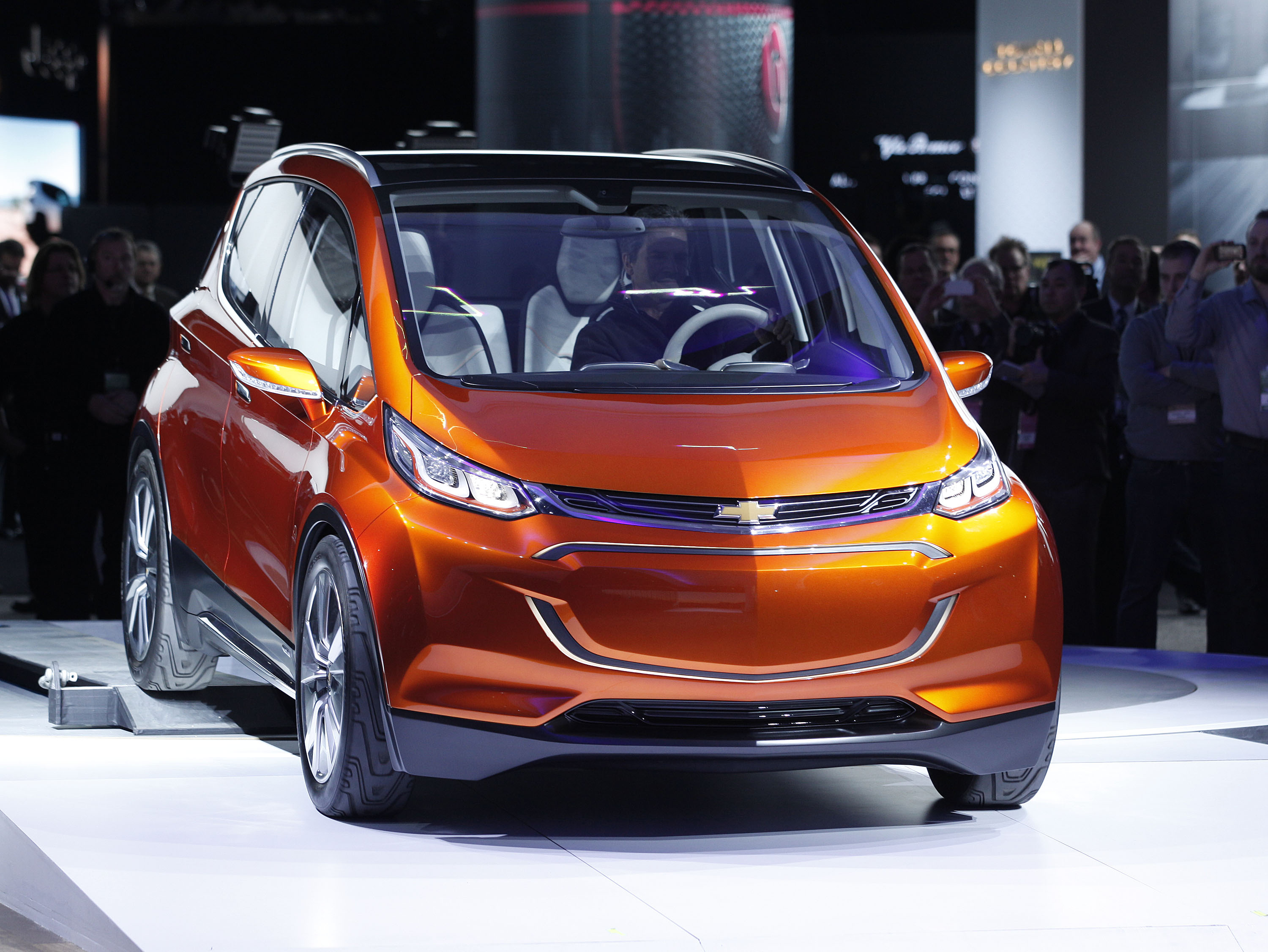 General Motors reveals the new Chevrolet Bolt concept to the media at the 2015 North American International Auto Show on January 12, 2015 in Detroit, Michigan.