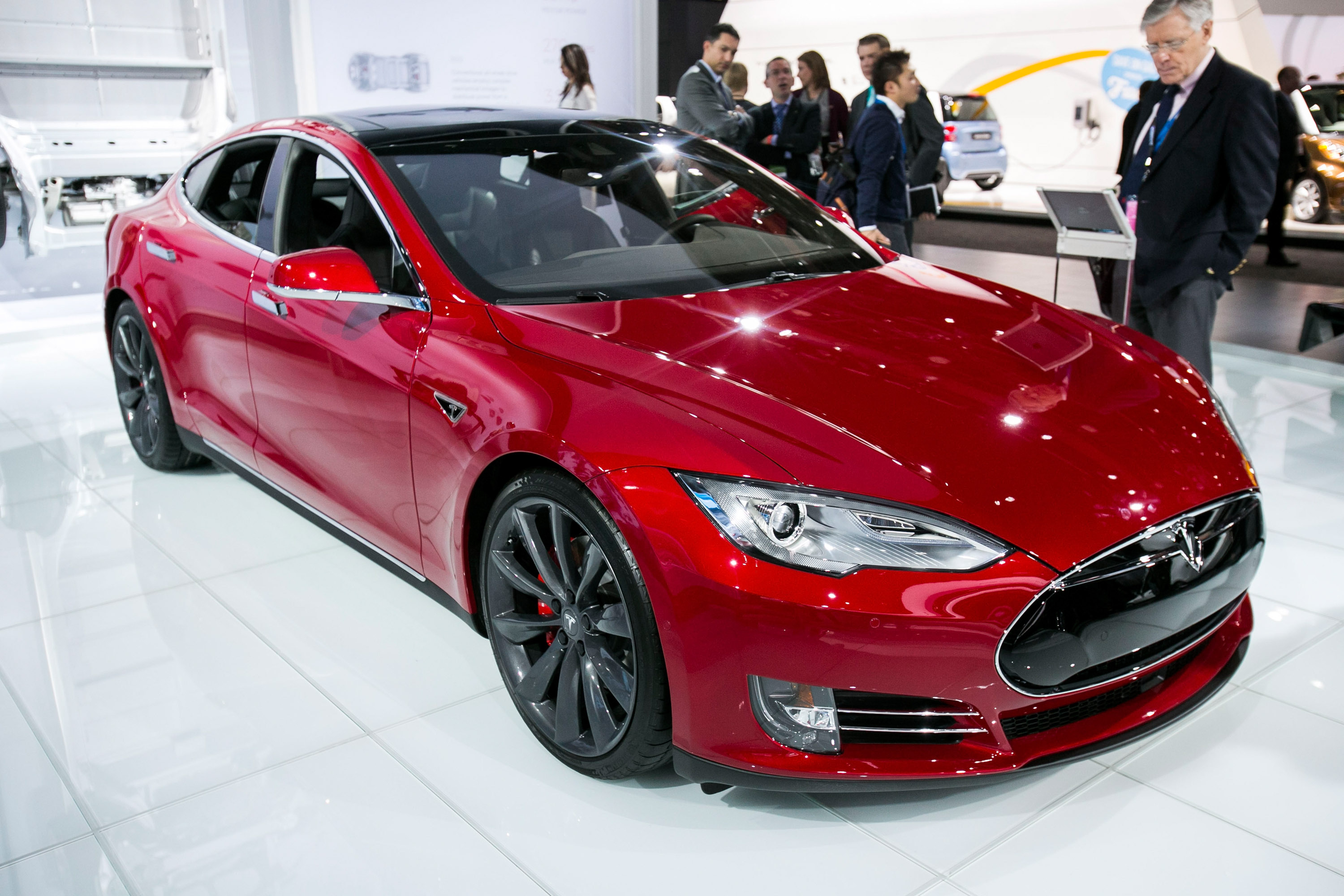 Tesla Model S P85D is revealed to the media at the 2015 North American International Auto Show at Cobo Center on January 12, 2015 in Detroit, Michigan.