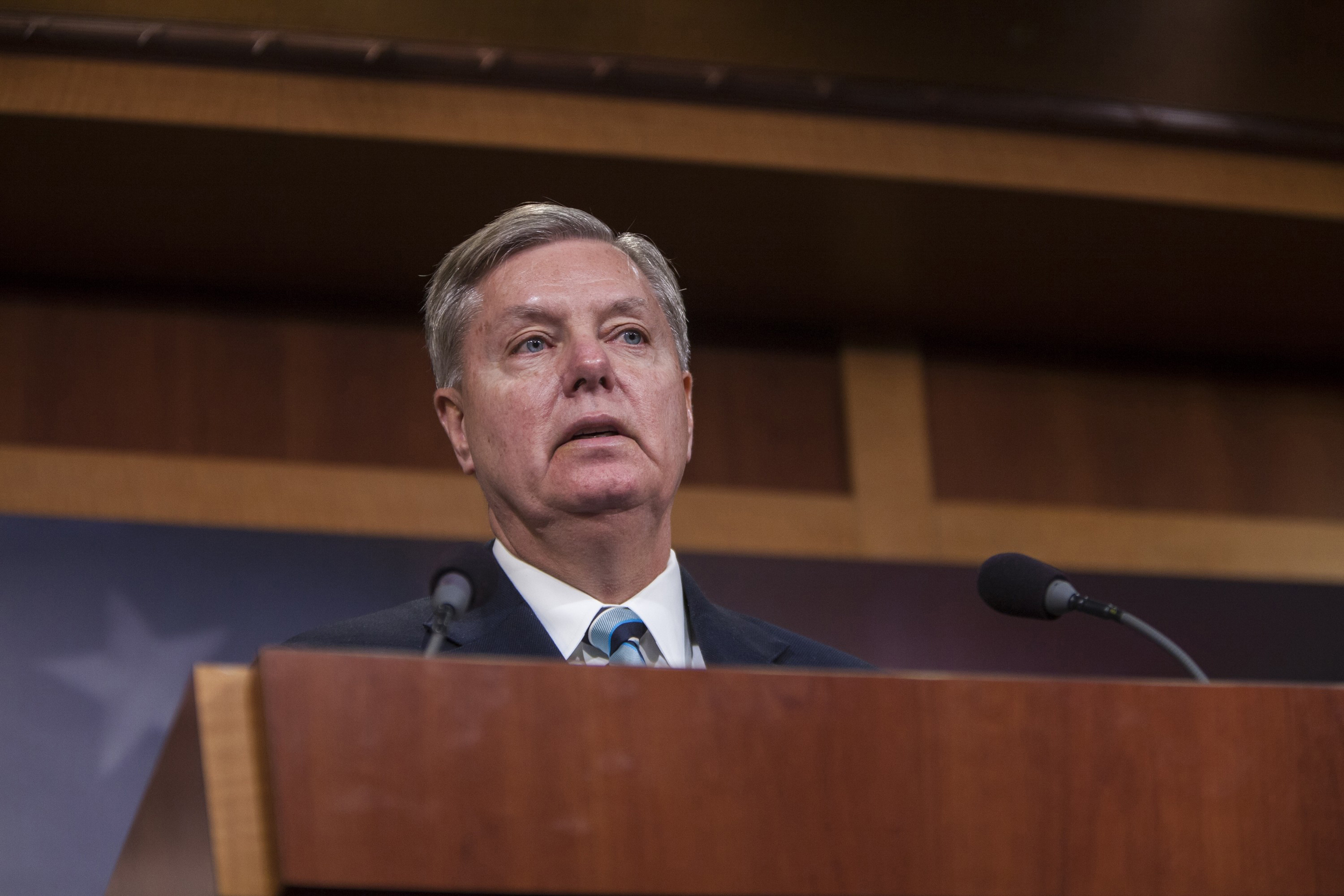 Senator Lindsey Graham speaks at a press conference in Washington on January 13, 2015.