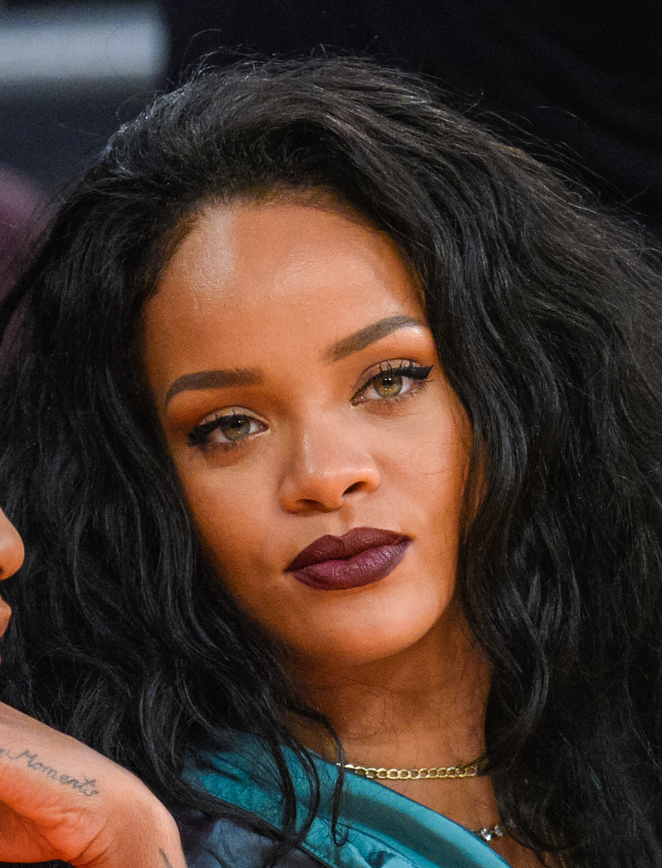Rihanna attends a basketball game between the Cleveland Cavaliers and the Los Angeles Lakers at Staples Center on January 15, 2015 in Los Angeles, California.