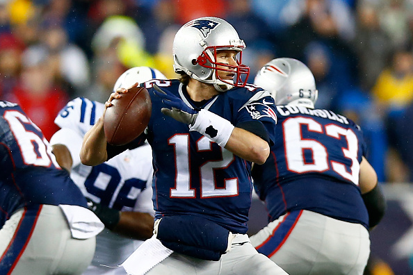 Tom Brady of the New England Patriots looks to pass in the first quatter against the Indianapolis Colts at Gillette Stadium in Foxboro, Mass., on Jan. 18, 2015