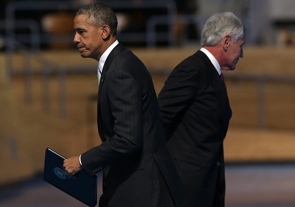 President Obama and Defense Secretary Chuck Hagel at the defense chief's formal farewell ceremony Wednesday.