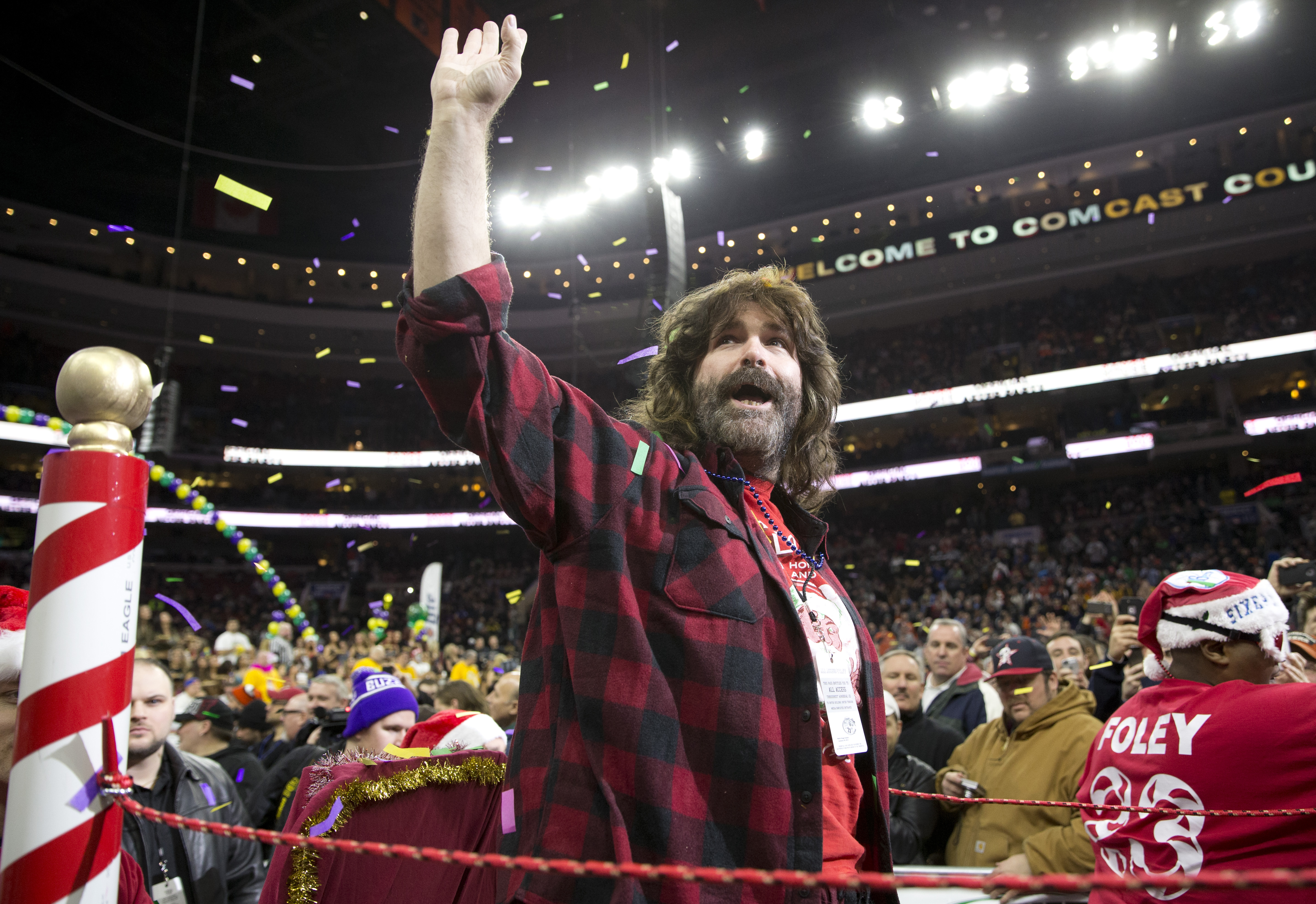 Professional wrestler Mick Foley participates in Wing Bowl 23 on January 30, 2015 at the Wells Fargo Center in Philadelphia, Pennsylvania.