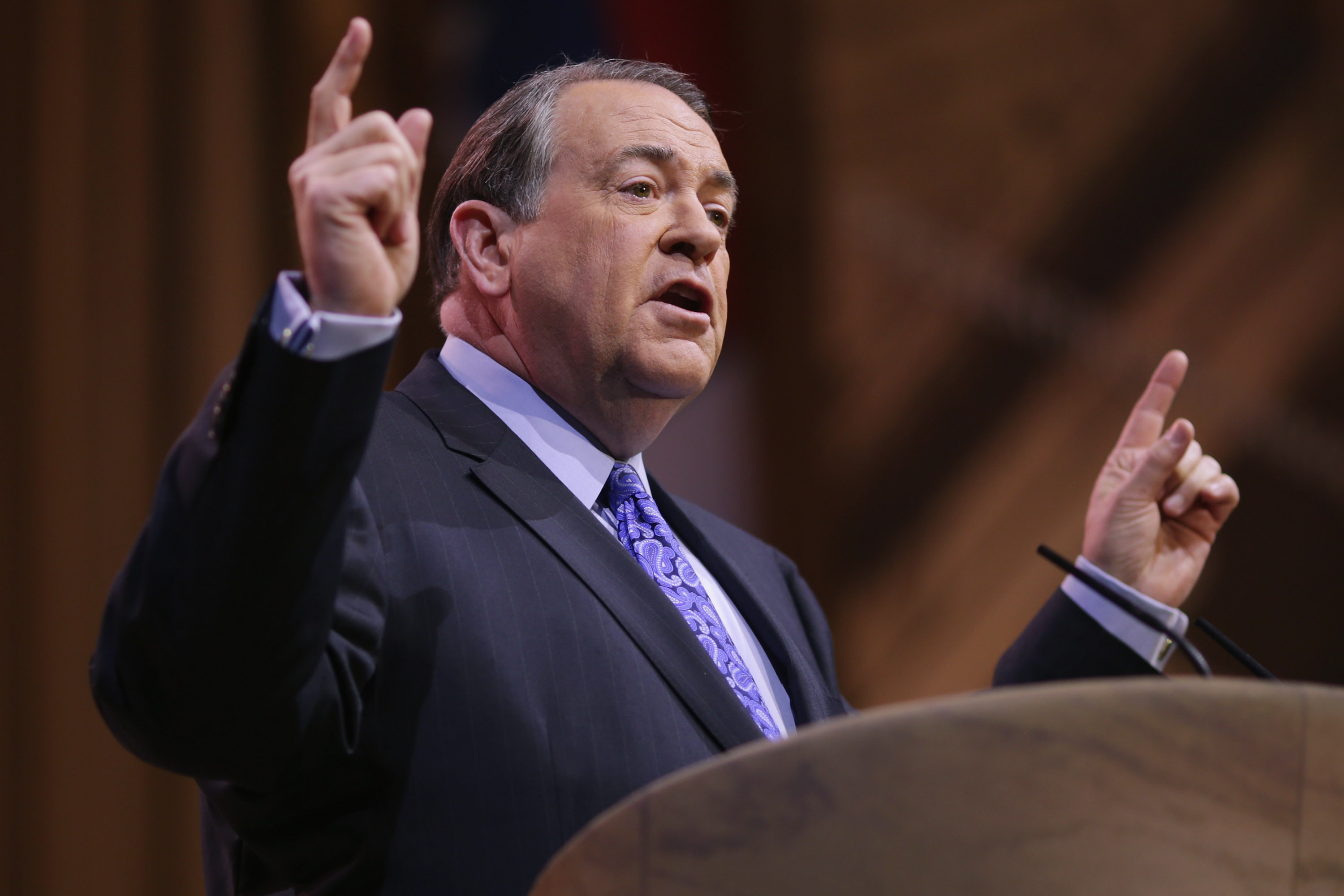 Former Arkansas Governor Mike Huckabee speaks during the second day of the Conservative Political Action Conference at the Gaylord International Hotel and Conference Center on March 7, 2014 in National Harbor, Md.