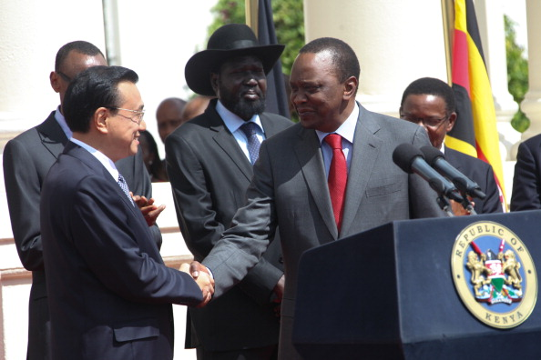 NAIROBI, KENYA - 2014/05/11: China's Prime Minister, Li Keqiang (L) greets his host Kenyan President Uhuru Kenyatta, after making his speech during a joint press conference after signing the East Africa Countries cooperation with China at the State House in Nairobi, the Kenyan capital, the Premier Li Keqiang arrived in Nairobi on Friday for his final four African nations tour, in a visit expected to boost trade in the East Africa region as he signed Railway construction cross-cutting the countries in the region, China being the world's second-biggest economy, he is keen to boost its presence on the continent to find new markets and opportunities. (Photo by Tom Maruko/Pacific Press/LightRocket via Getty Images)