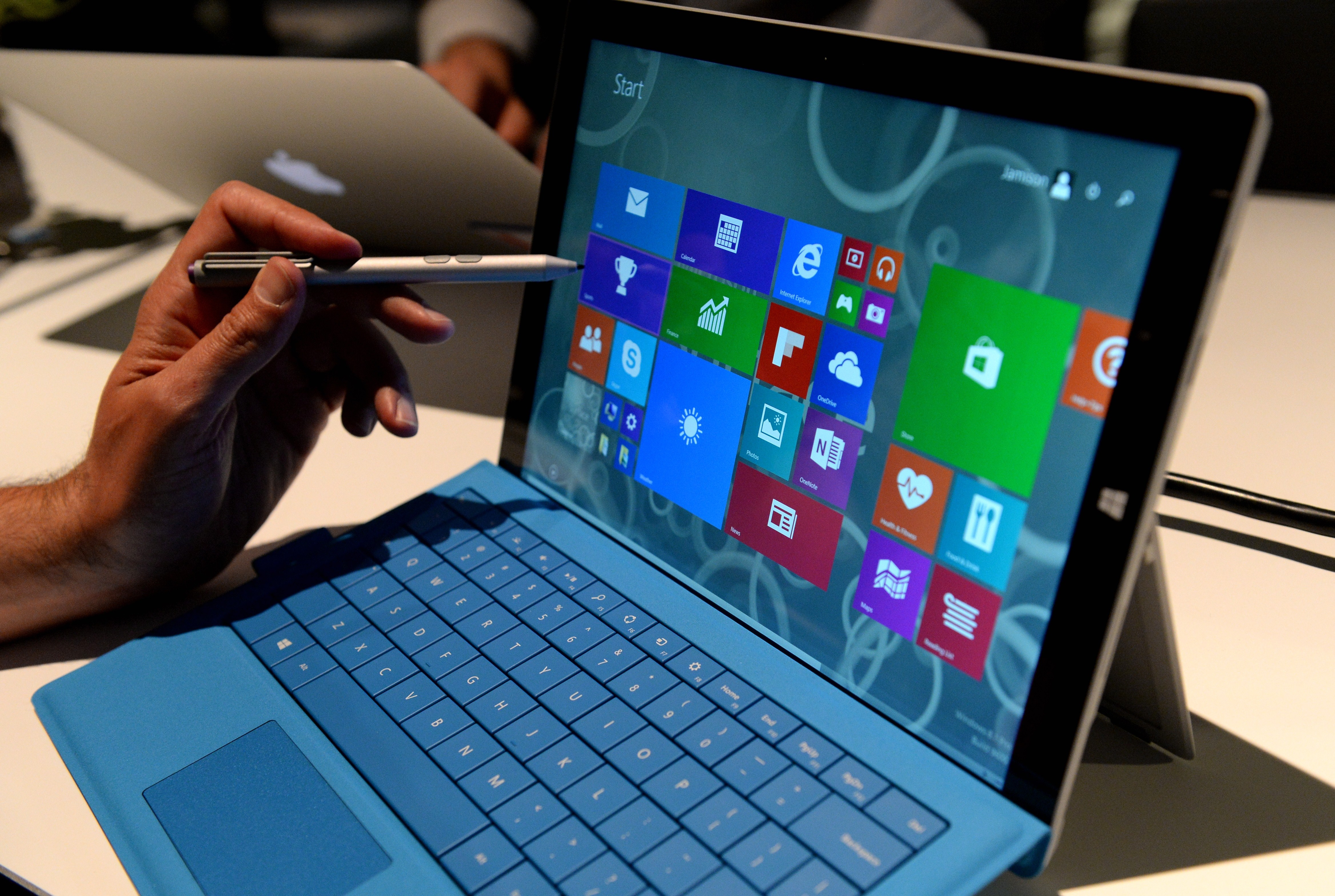 The new Microsoft Surface Pro 3 tablet with detachable keyboard and pen for writing on the screen after it was unveiled May 19, 2014 in New York.