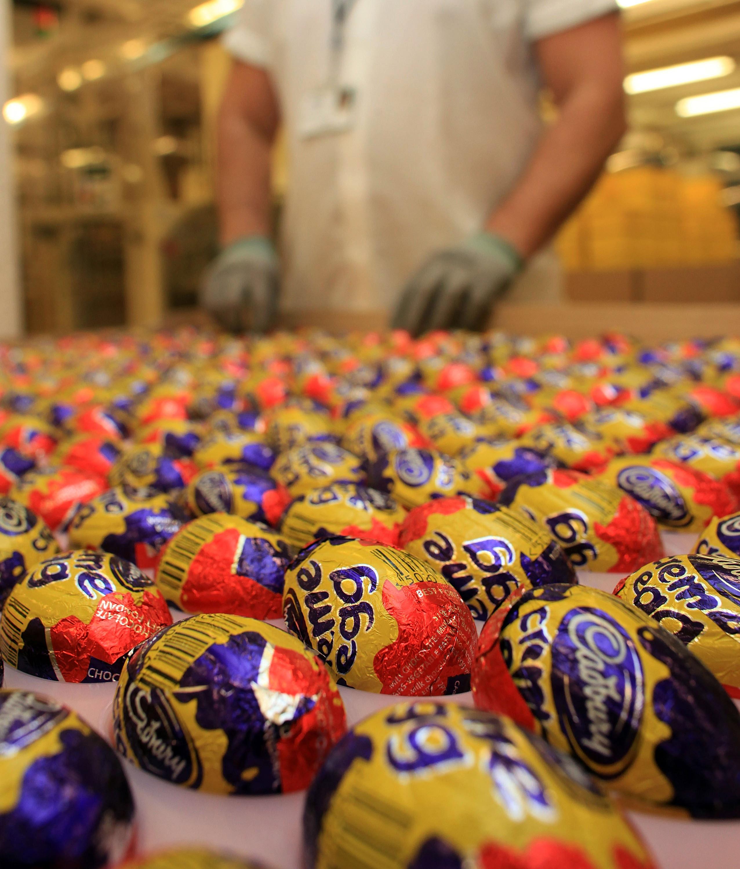 Cadbury's Creme Eggs move down the production line at the Cadbury's Bournville production plant