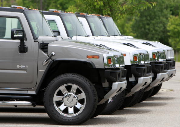 A row of Hummers for sale in 2009 at a Michigan dealer.