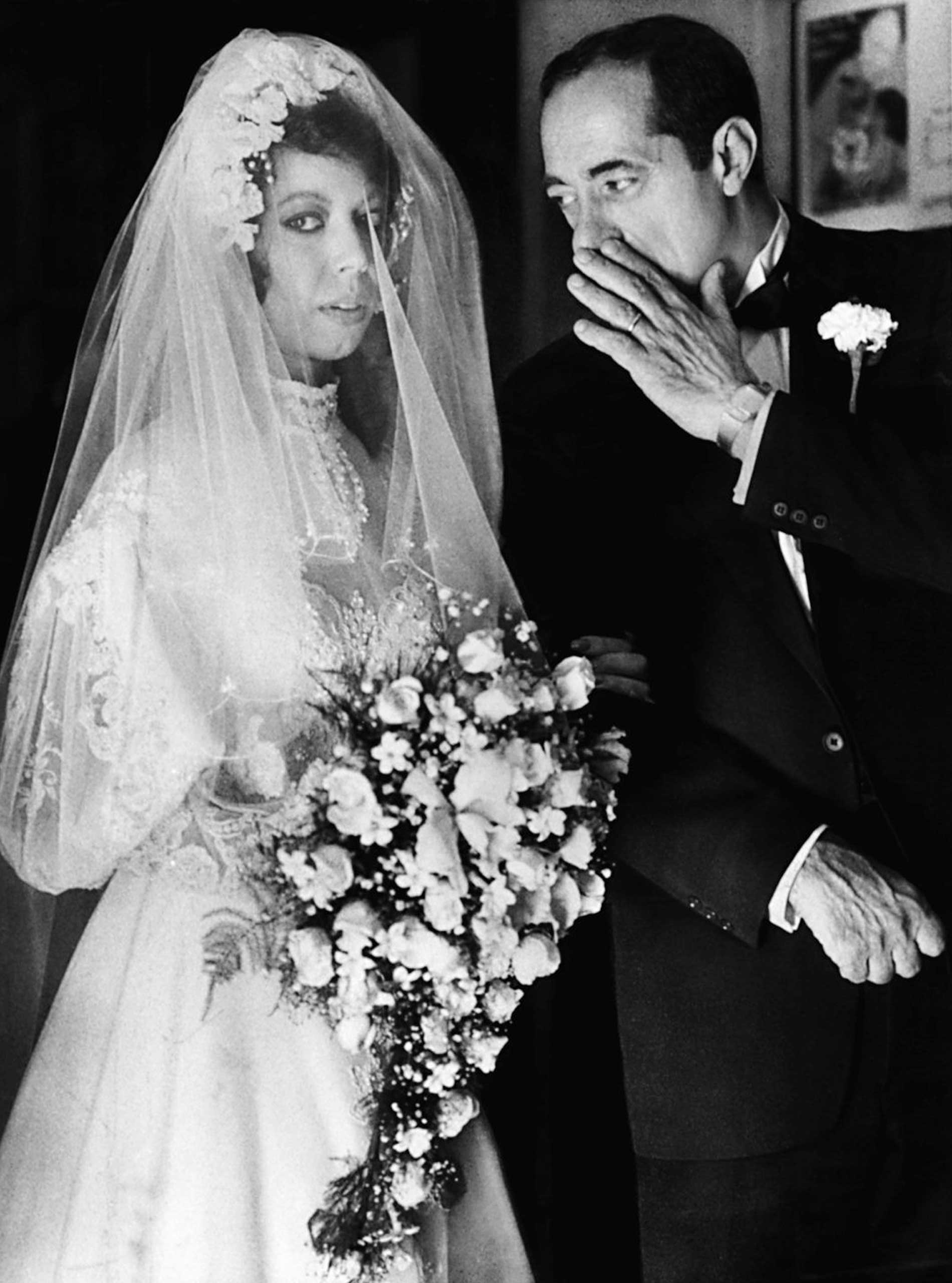 Mario Coumo with his daughter Margaret before her marriage to Peter Perpignano on Oct. 10, 1982.