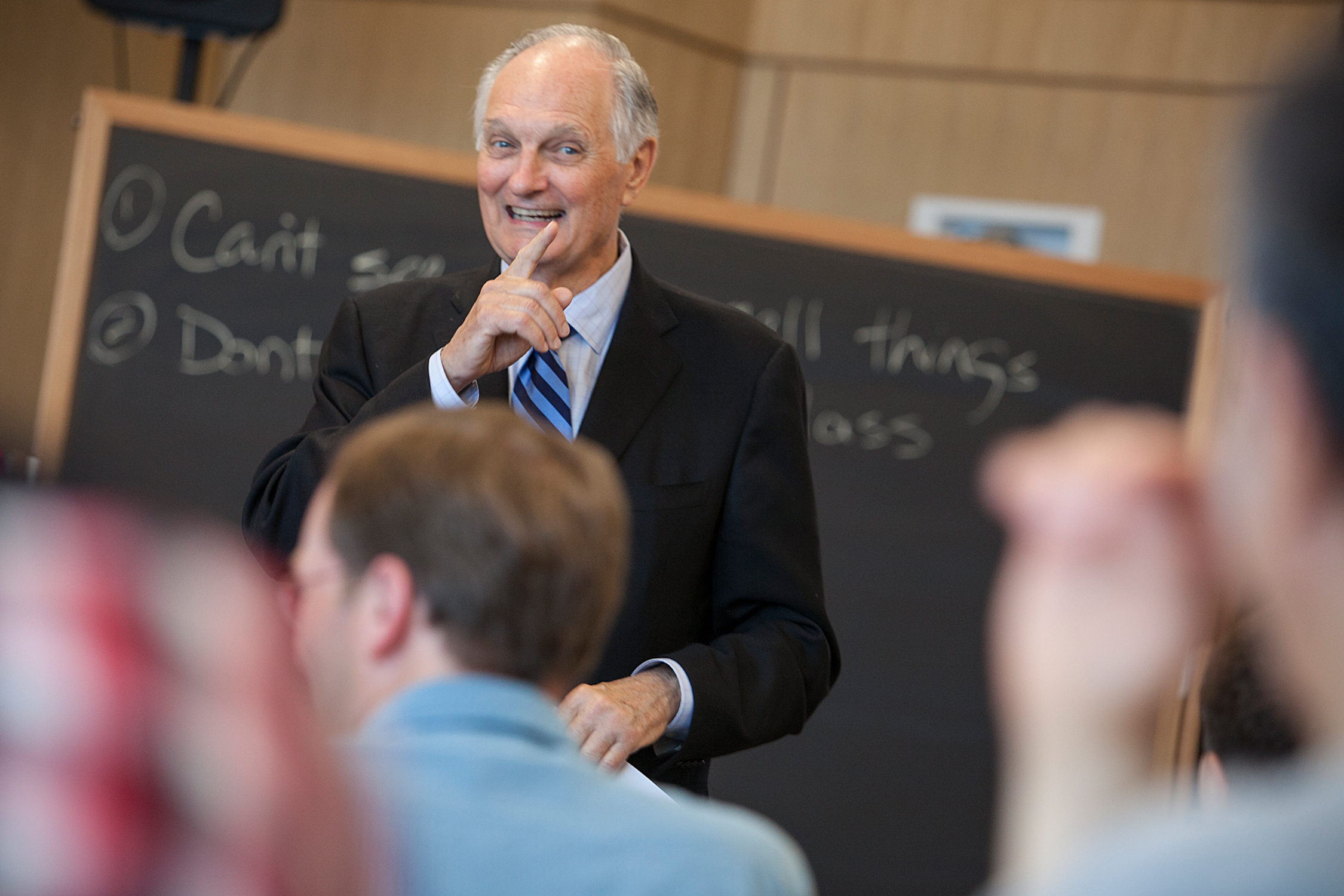 Alan Alda talks to scientists about effective communication during a workshop at Cornell University on May 22, 2014.