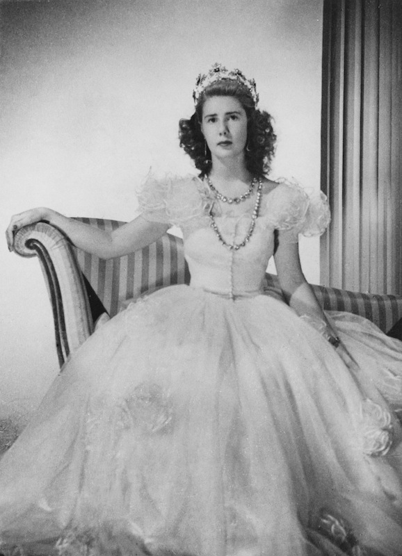 Cayetana Fitz-James Stuart, Duchess of Montoro (later, 18th Duchess of Alba) wearing a ballgown and tiara, circa 1947.