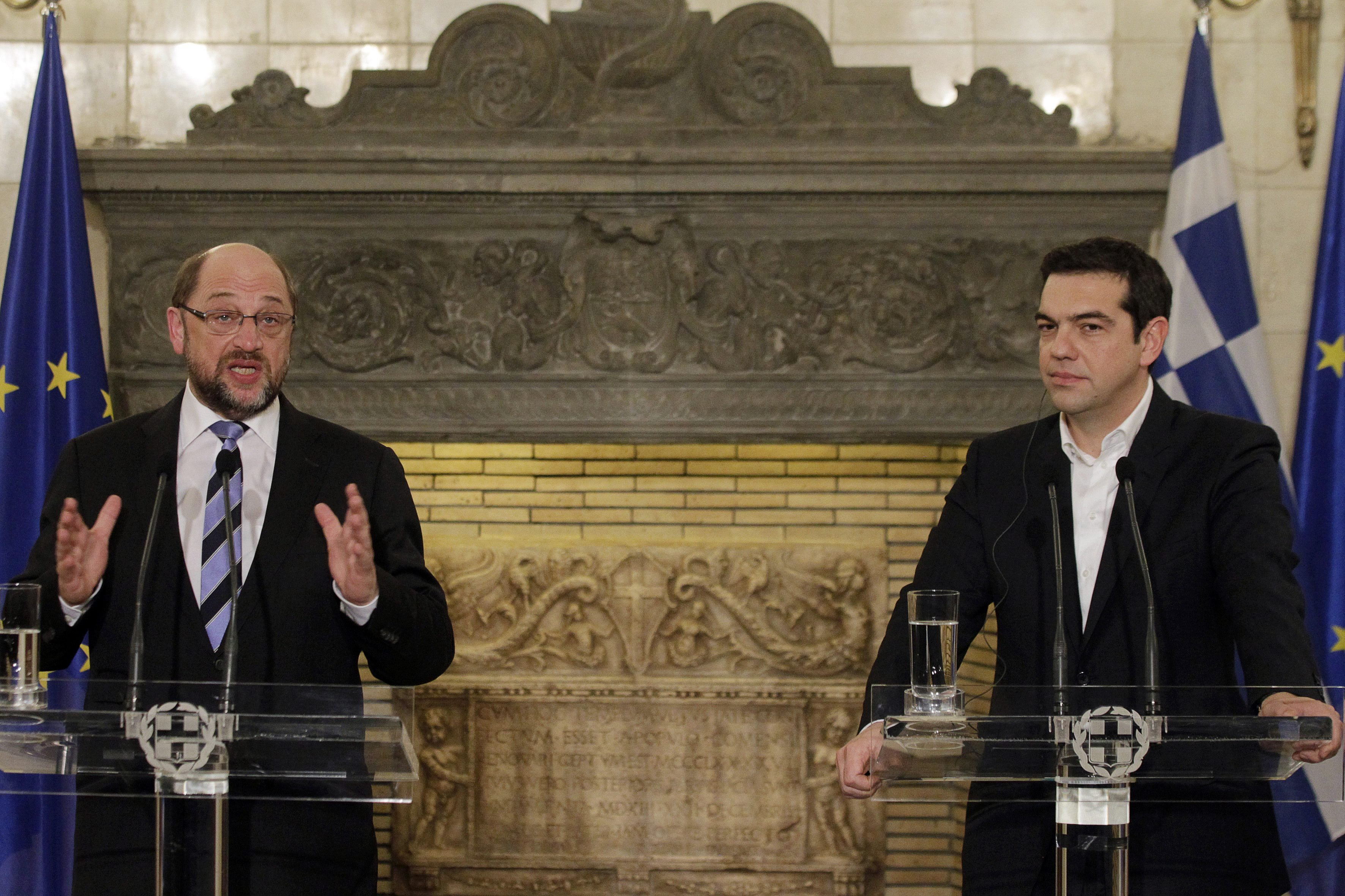 From Left: Martin Schulz (L), President of the European Parliament and Greek Prime Minister Alexis Tsipras make statements after their meeting in Athens on Jan. 29, 2015.