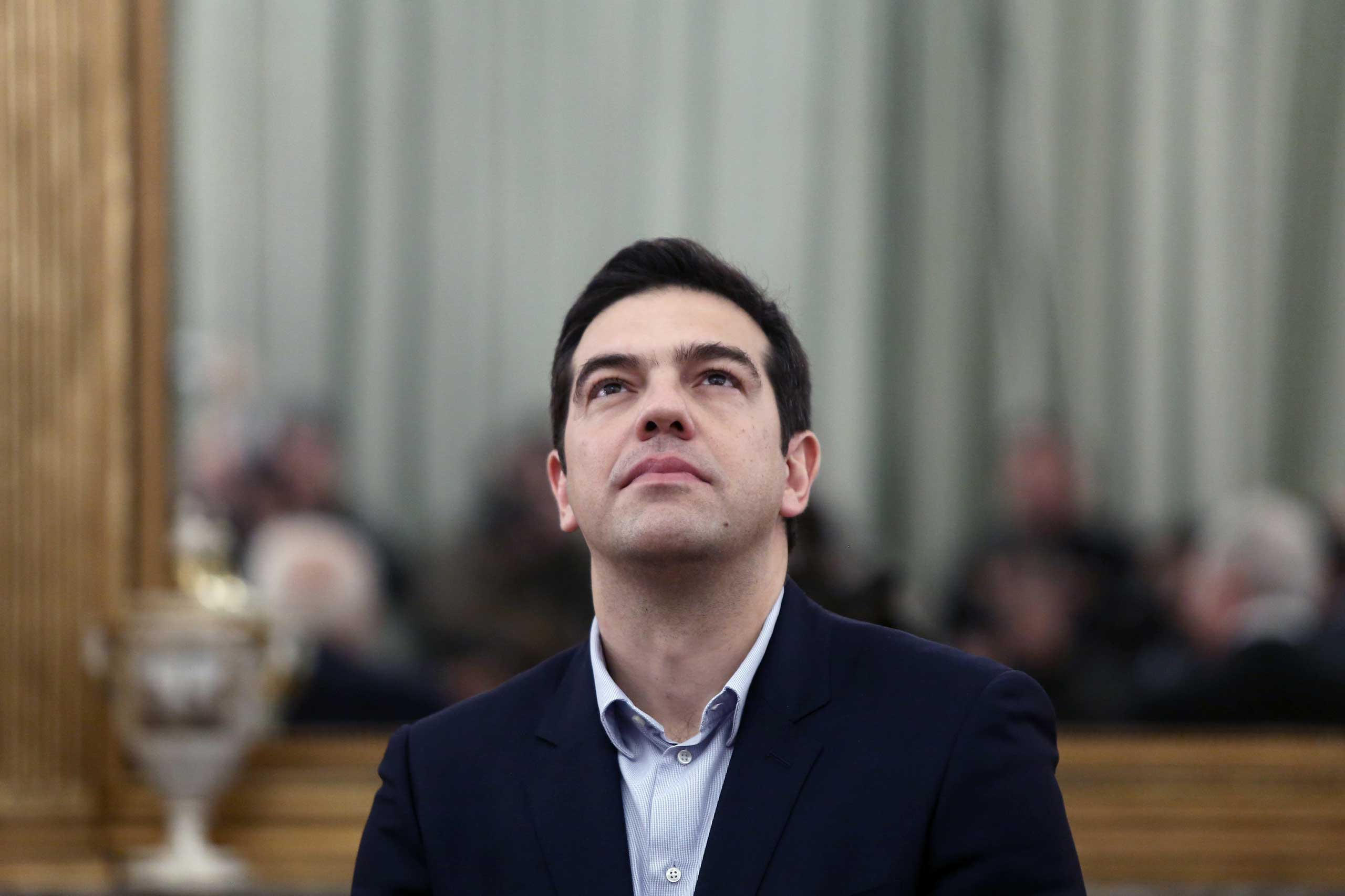 Greek Prime Minister and Syriza party leader Alexis Tsipras, at the Presidential palace during the swearing in ceremony of the new Greek Government, Athens, Jan. 27, 2015 .