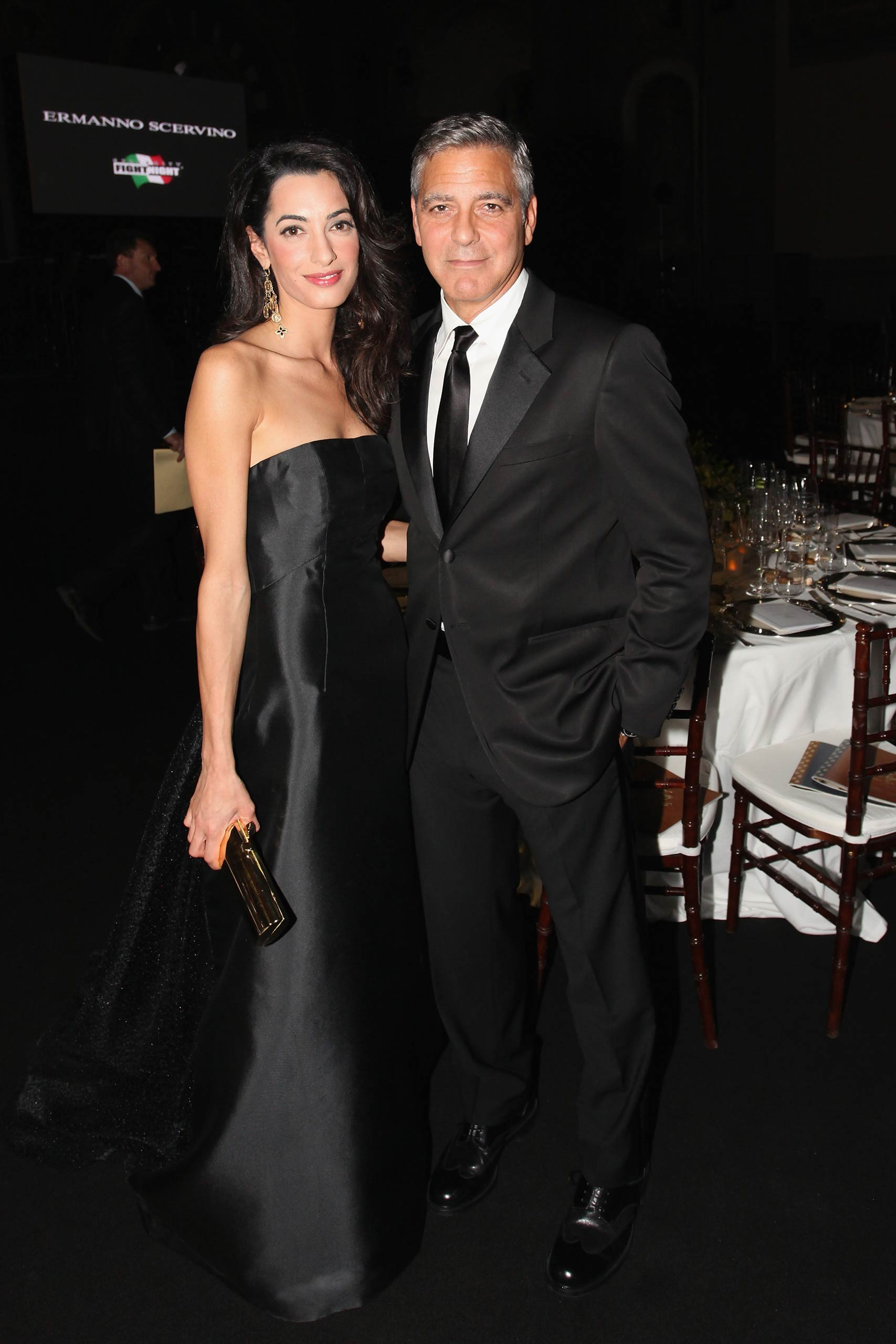 Amal Alamuddin and George Clooney attend the Celebrity Fight Night In Italy benefitting The Andrea Bocelli Foundation and The Muhammad Ali Parkinson Center Gala in Florence, Italy, on Sept. 7, 2014.