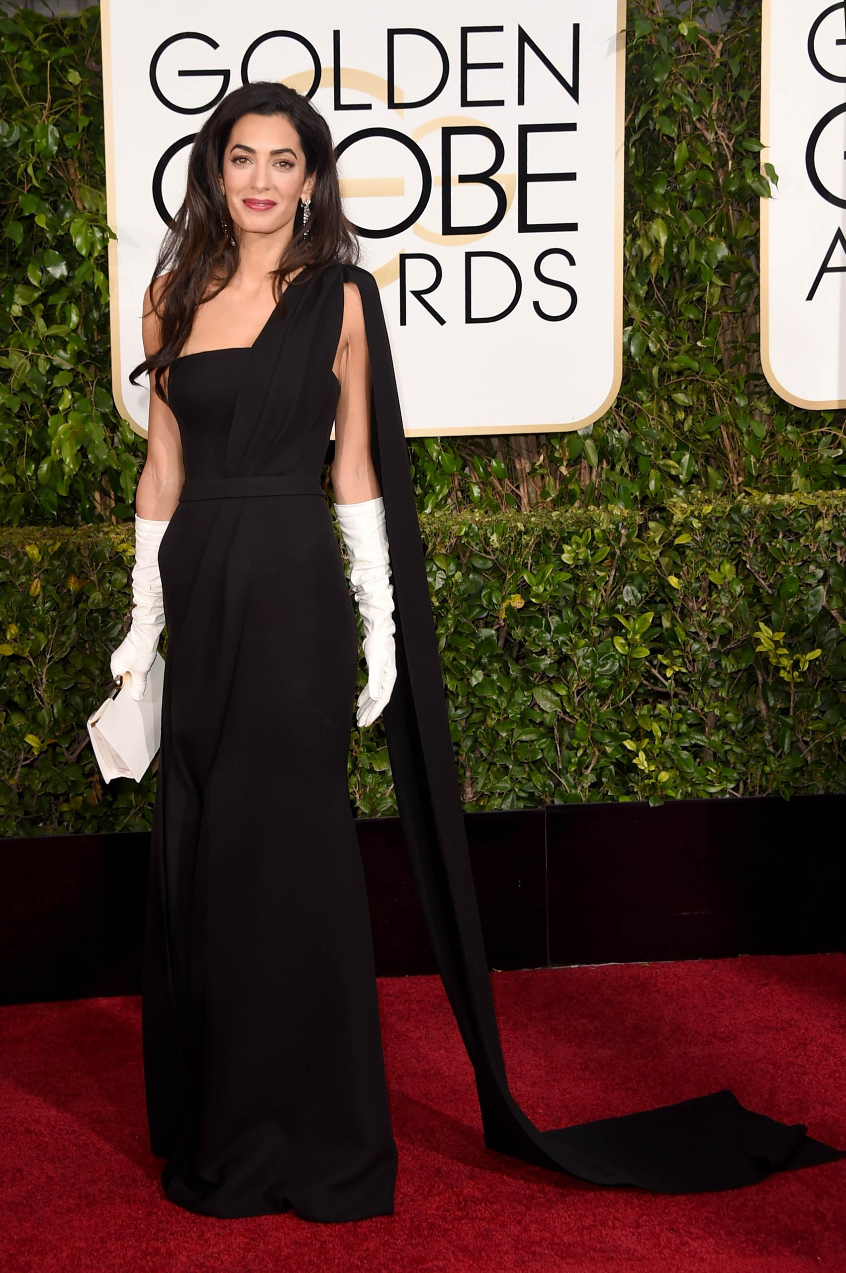Amal Clooney attends the 72nd Annual Golden Globe Awards at The Beverly Hilton Hotel in Beverly Hills, Calif., on Jan. 11, 2015.