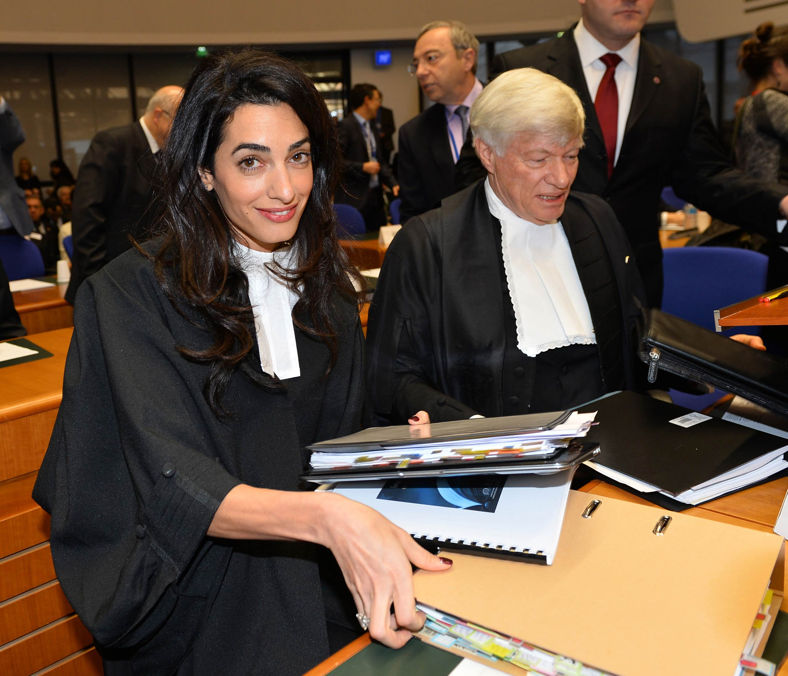Amal Clooney arrives for a hearing at the European Court of Human Rights in Strasbourg, France, on Jan. 28, 2015.