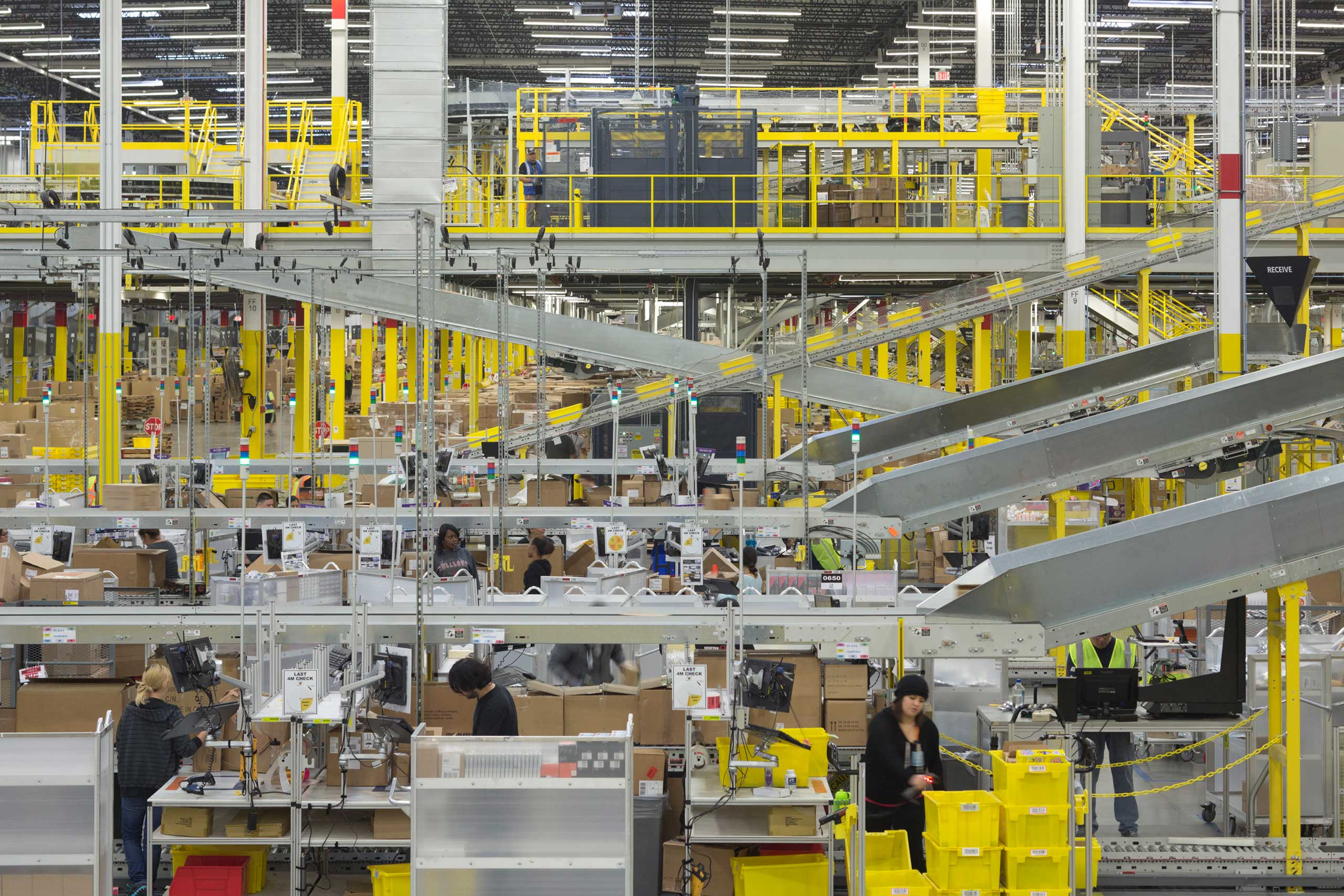 The packaging process at the Amazon fulfillment center in Tracy, Calif. on Nov. 21, 2014.