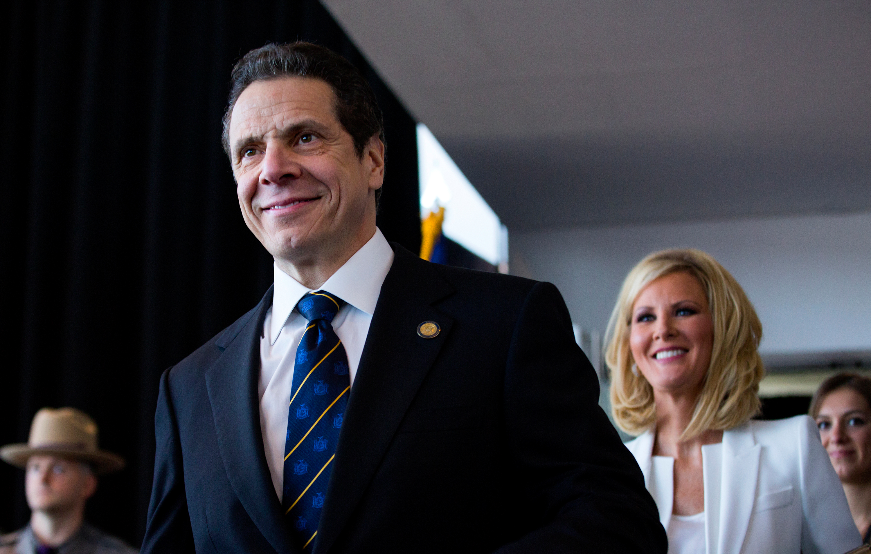 New York Governor Andrew Cuomo arrives for his inaugural ceremony at One World Trade Center in New York on Jan. 1, 2015.