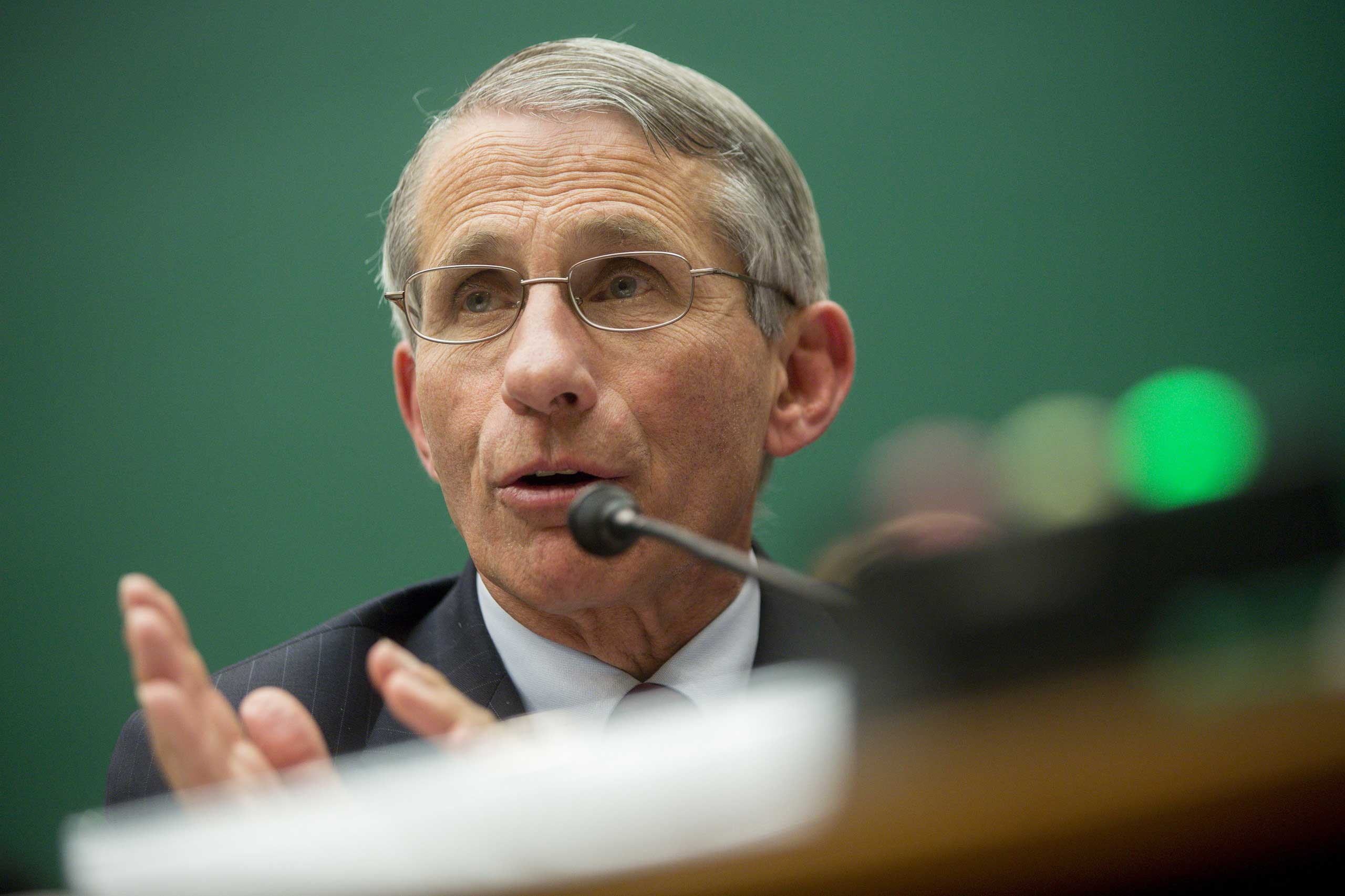 Anthony Fauci, director of the National Institute of Allergy and Infectious Diseases, speaks during a House Energy and Commerce Committee subcommittee hearing on the U.S. public health response to the Ebola outbreak in Washington, D.C., Oct. 2014.