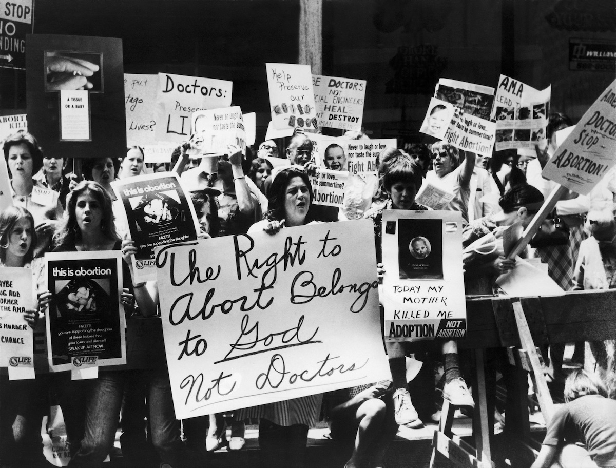 An anti-abortion rally in New York City on July 10, 1973,