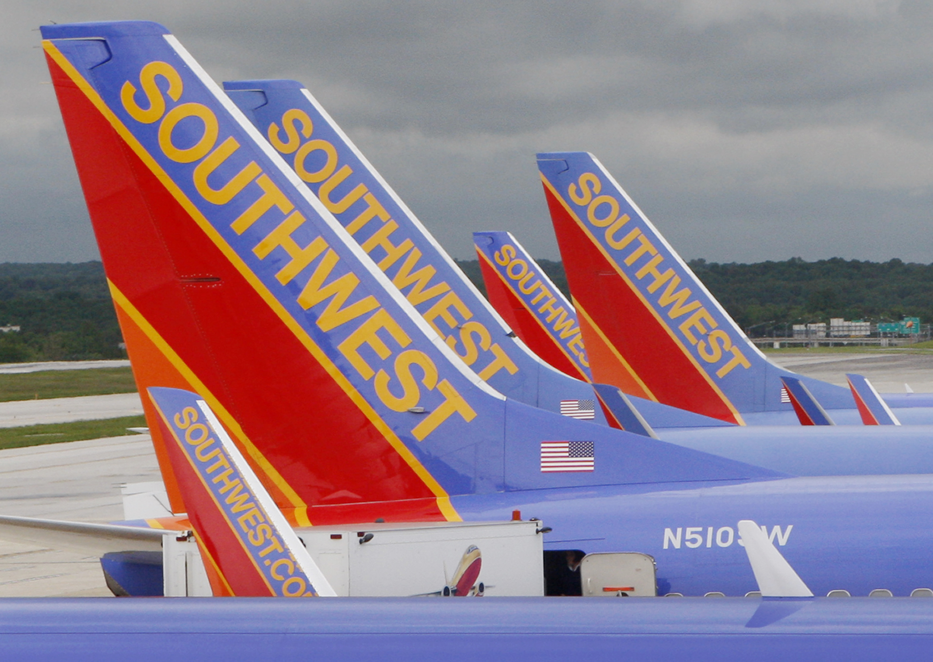 Southwest Airlines jets  parked at Baltimore Washington International Airport in Baltimore, Maryland.