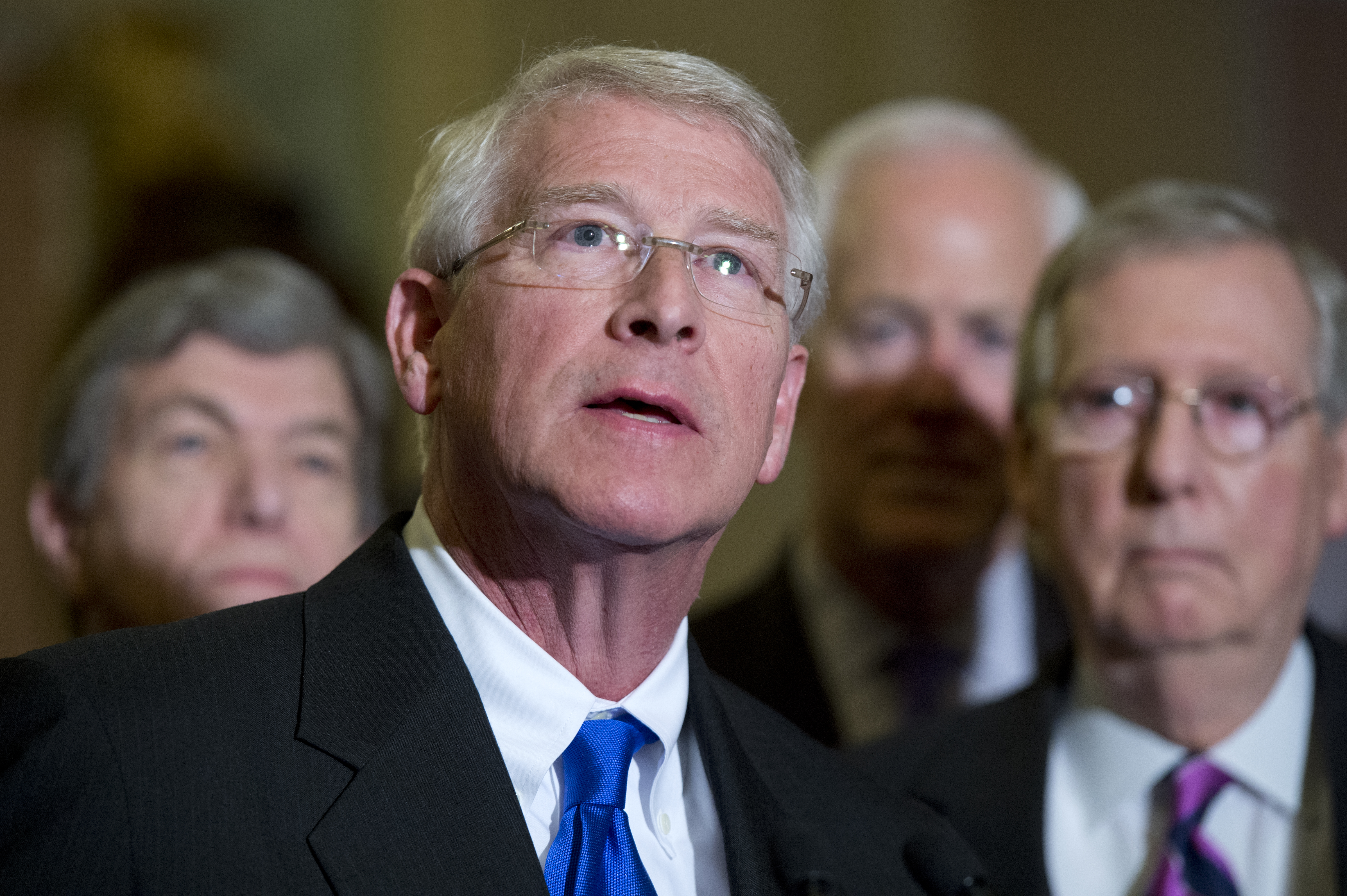 Republican Senator Roger Wicker of Mississippi speaks at a news conference after the Senate luncheons in the Capitol on Jan. 7, 2015