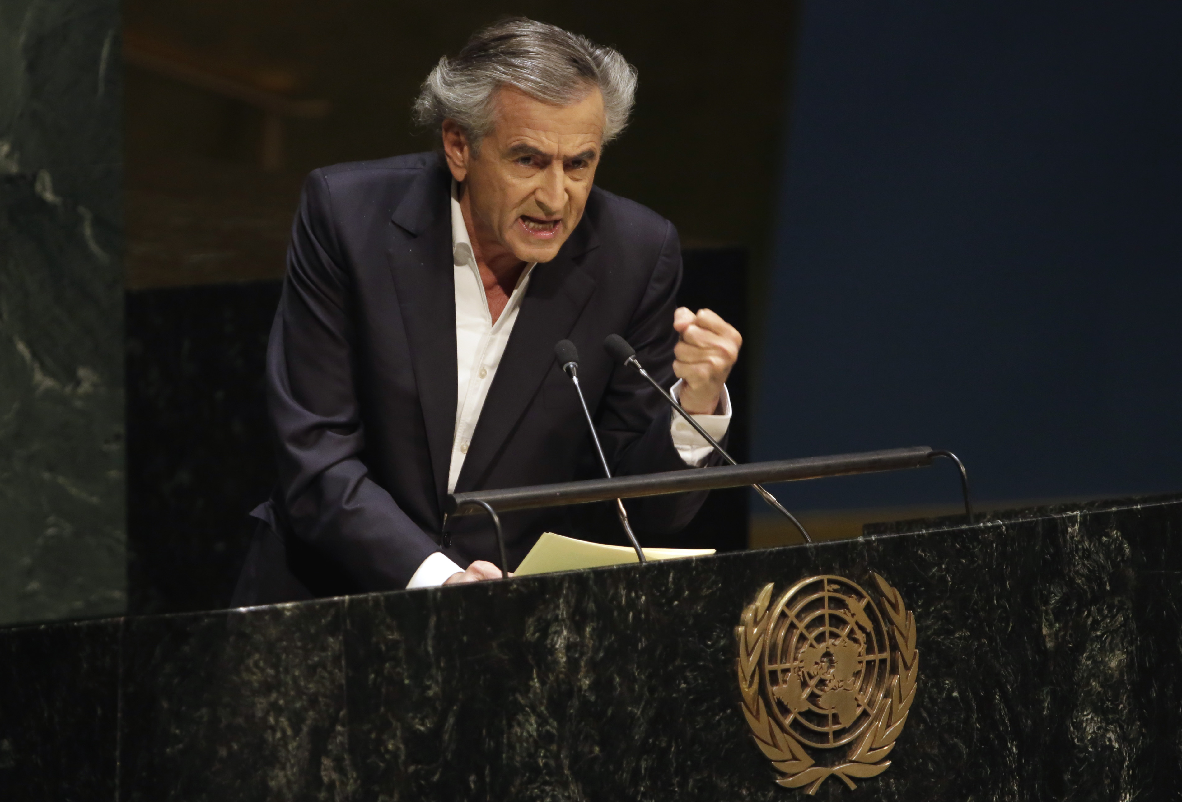 French philosopher and writer Bernard-Henri Levy addresses the United Nations General Assembly, Thursday, Jan. 22, 2015.