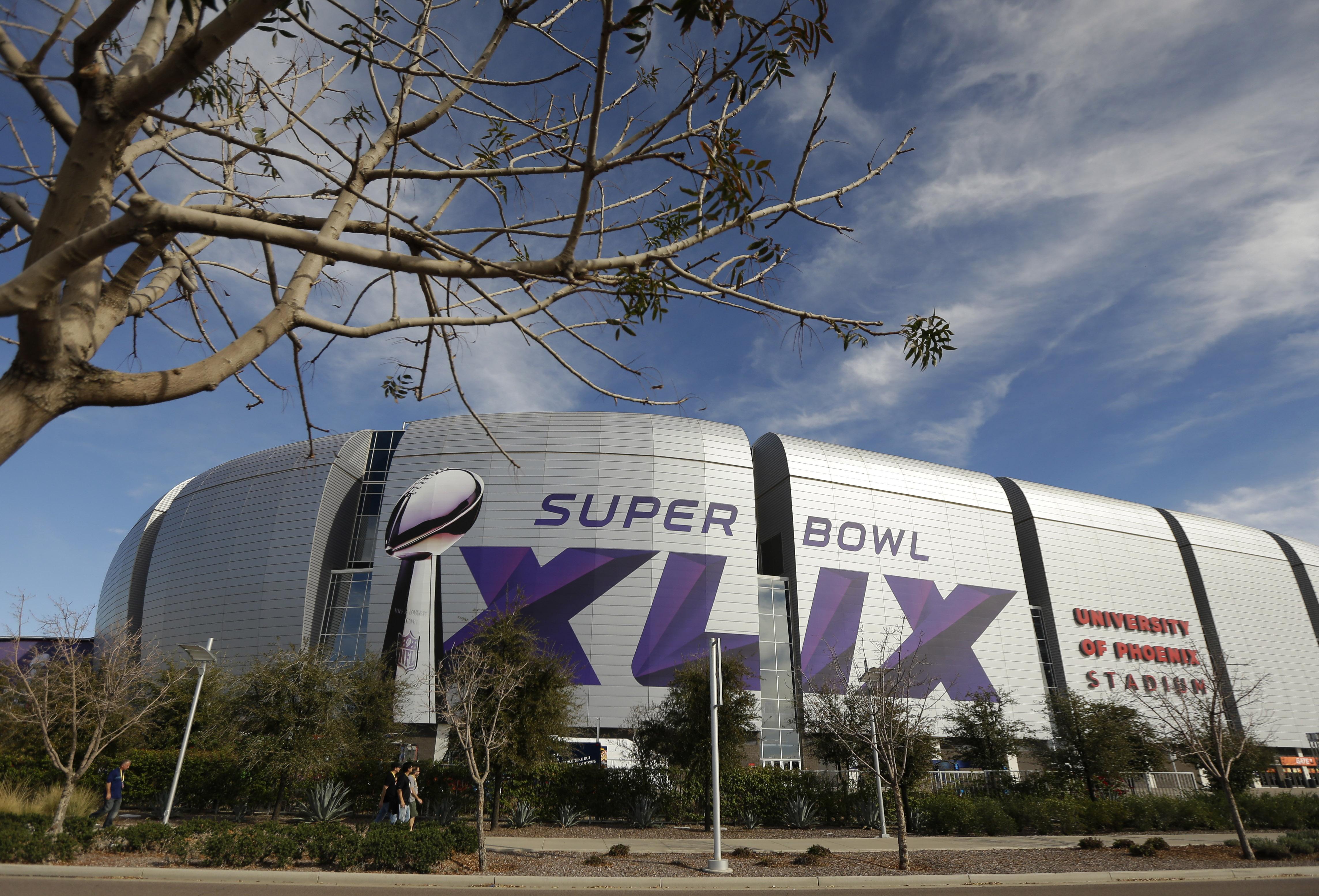 The University of Phoenix Stadium in Glendale, Ariz, where Super Bowl XLIX will take place on Feb. 1, 2015.