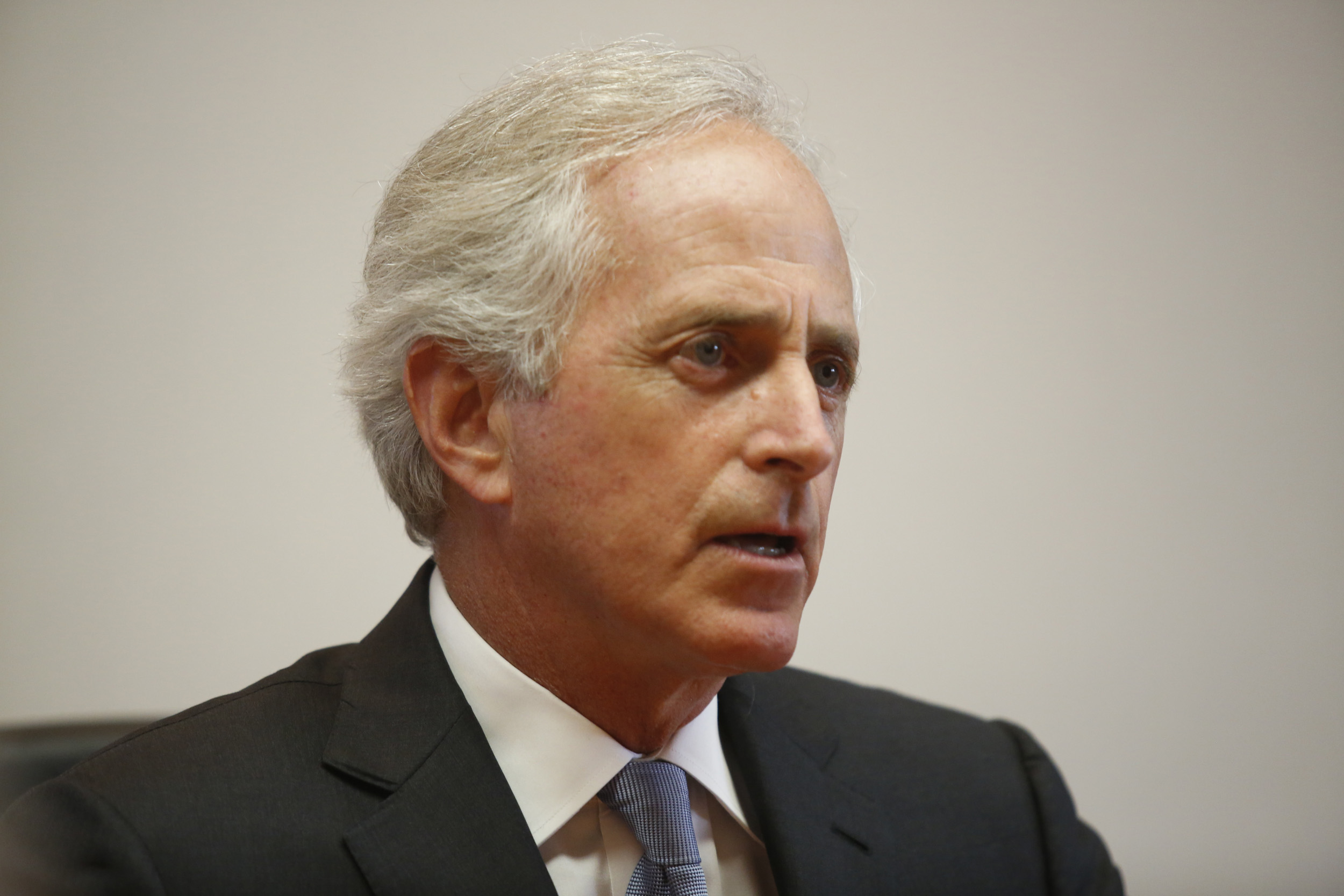 U.S. Sen. Bob Corker speaks to the Chattanooga Times Free Press staff in Chattanooga, Tenn. on Aug. 20, 2014.