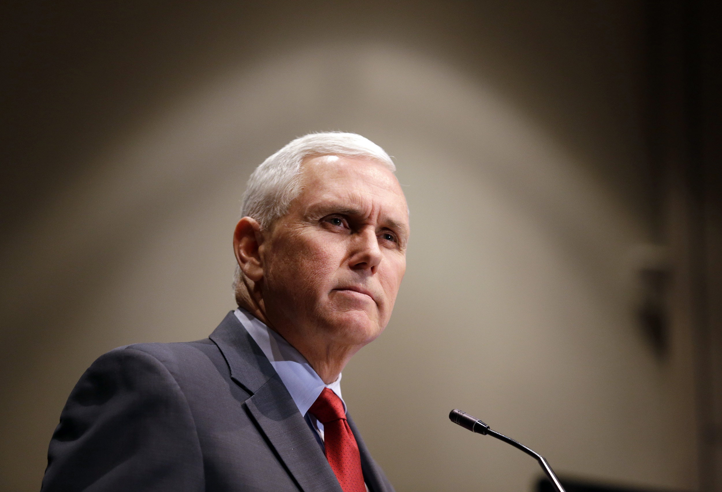 Indiana Gov. Mike Pence gives a speech in Indianapolis on Jan. 27, 2015.