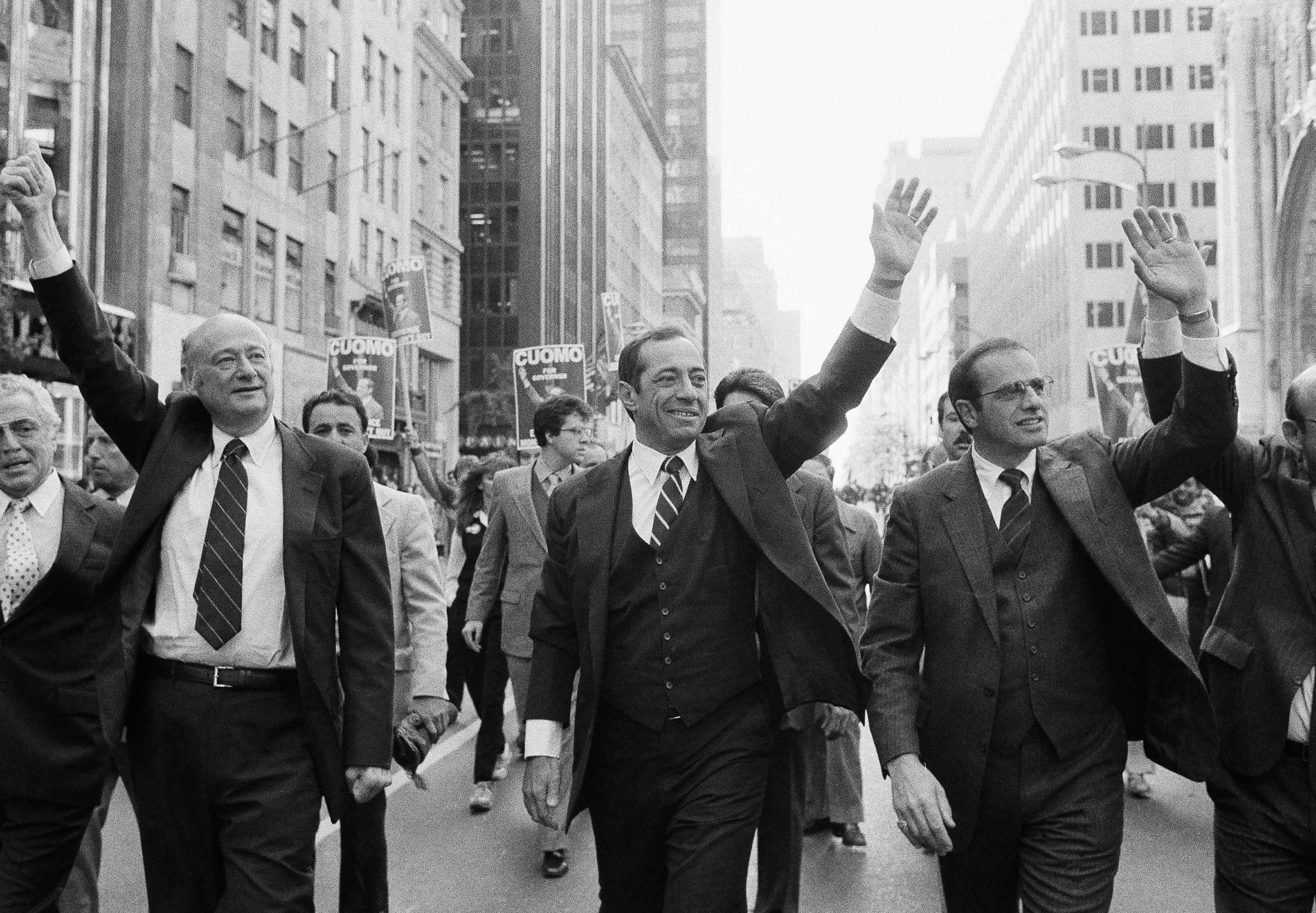 Marching down New York's Fifth Avenue during the Columbus Day Parade are (from left:) Congressman Mario Biaggi, New York City Mayor Edward Koch, Lt. Gov. Mario Cuomo and Westchester County Executive Alfred DelBello in New York City on Oct. 11, 1982.