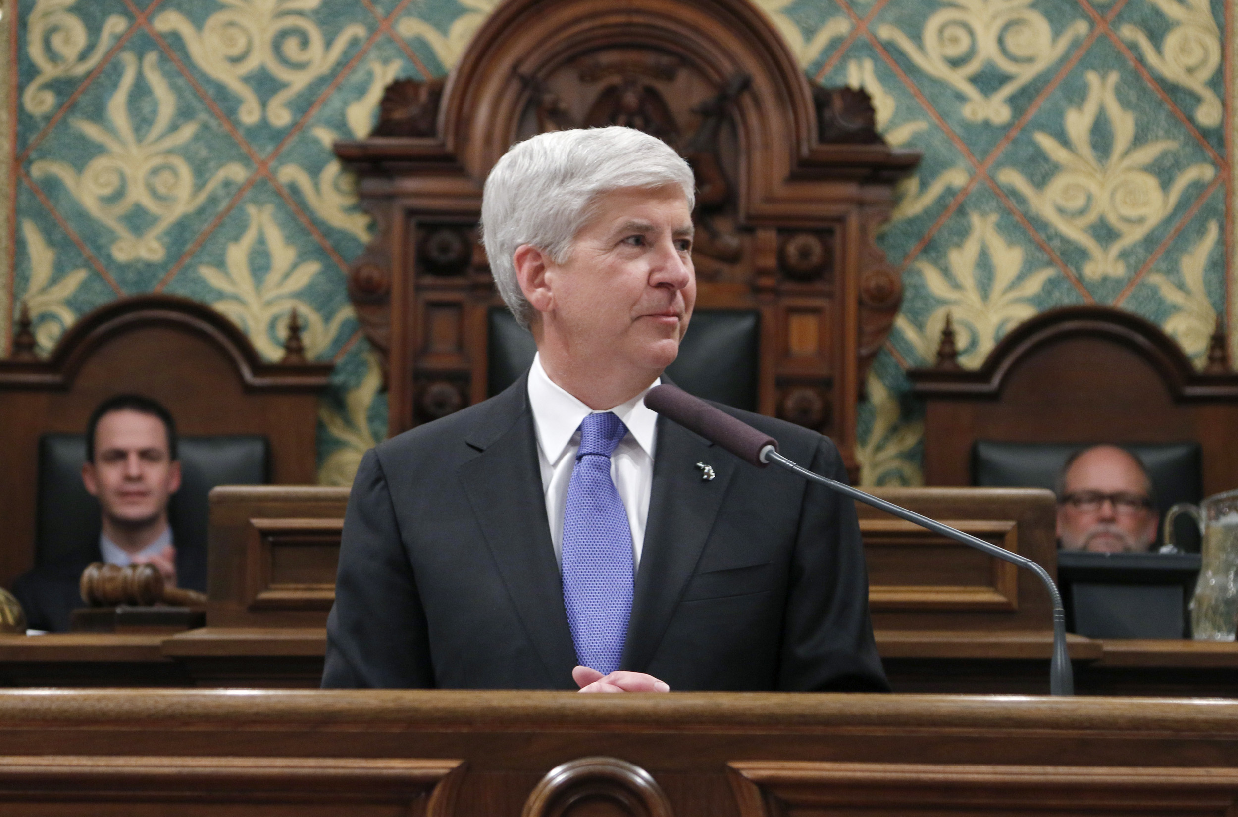 Michigan Gov. Rick Snyder delivers his State of the State address in Lansig, Mich. on Jan. 20, 2015.