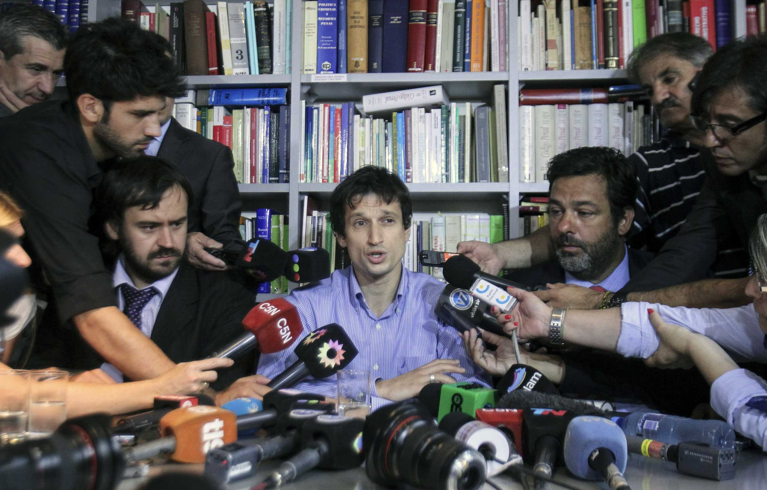 Diego Lagomarsino, assistant of late prosecutor Alberto Nisman speaks during a press conference in Buenos Aires, Jan. 28, 2015.