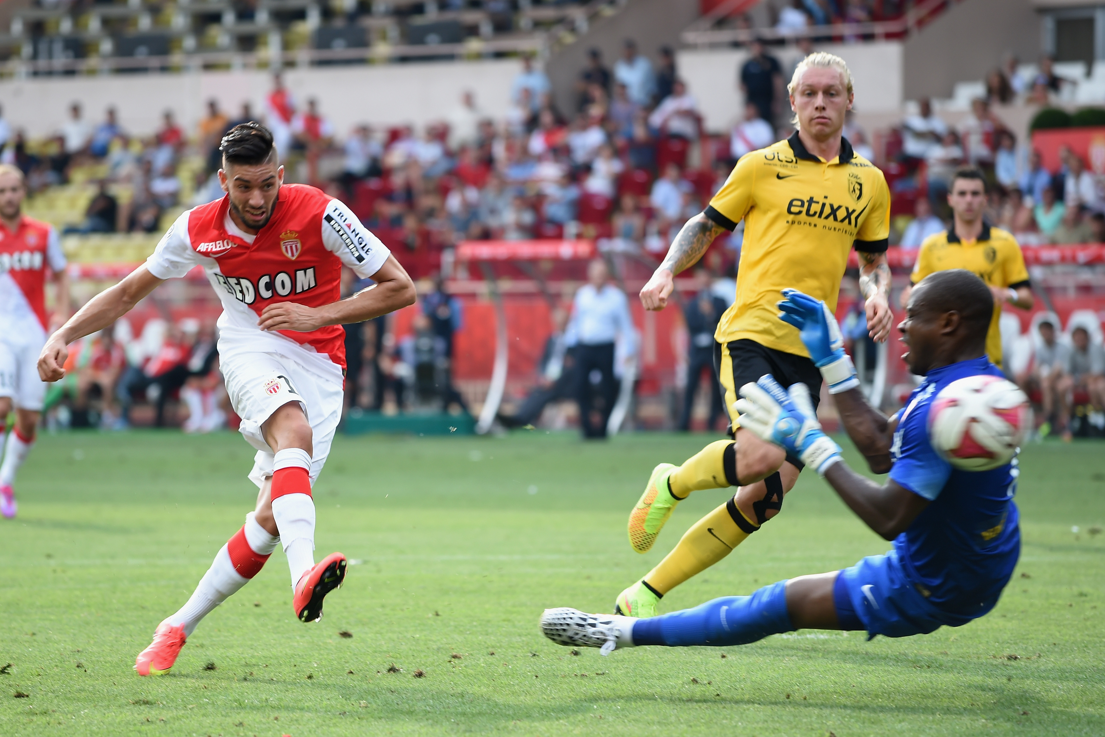 Yannick Ferreira Carrasco of Monaco shoots at goal during the French Ligue 1 match between AS Monaco FC and LOSC Lille at Louis II Stadium on Aug. 30, 2014 in Monaco,