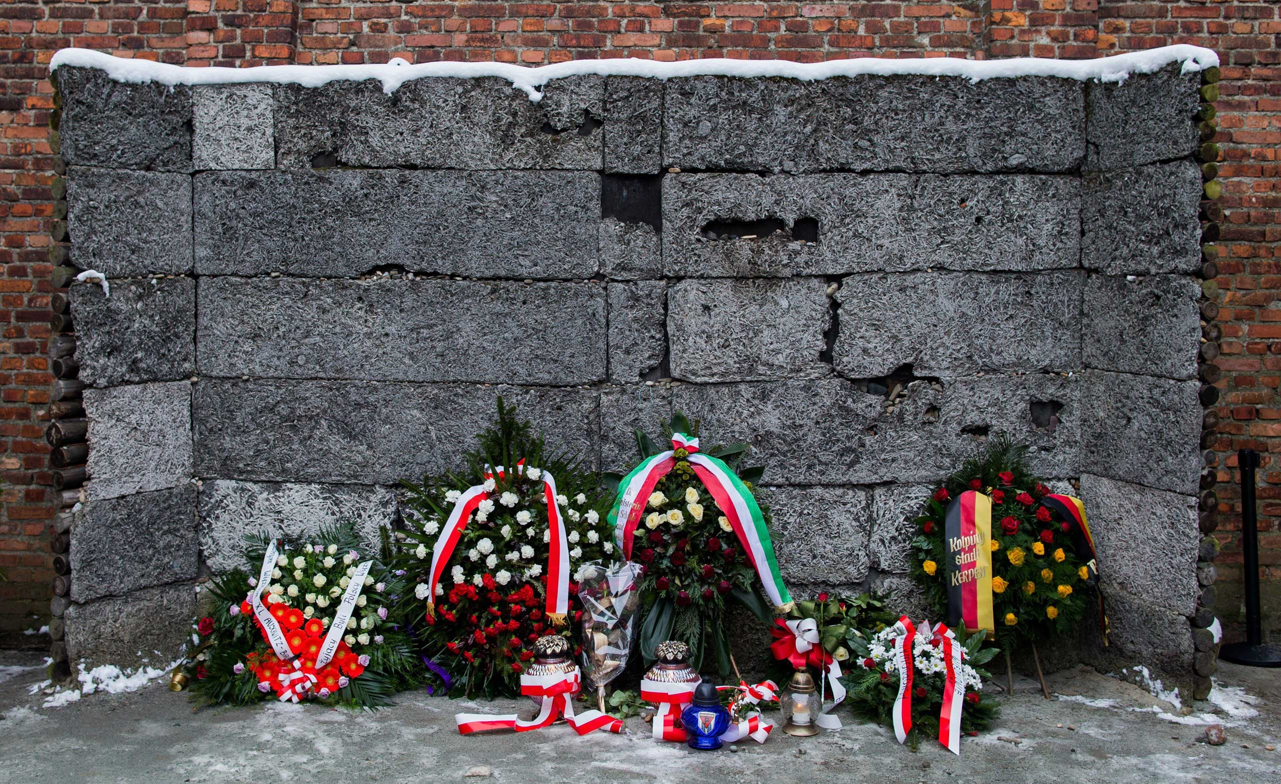 The wall of death prior to a ceremony marking the 70th anniversary of the liberation of the former Nazi-German concentration and extermination camp KL Auschwitz-Birkenau in Oswiecim, Jan. 27, 2015.